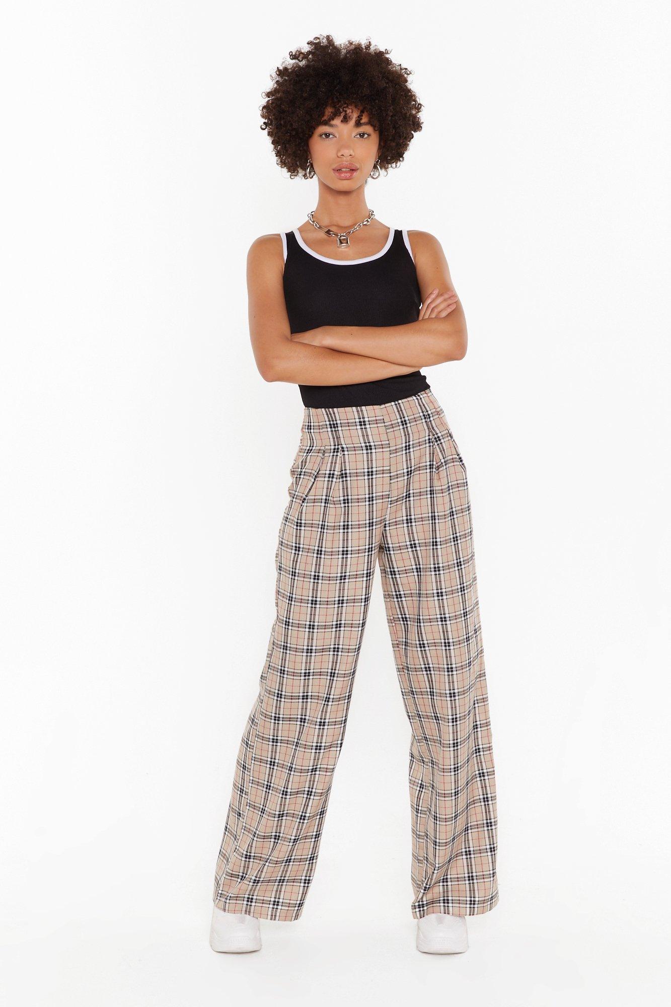 Image of Grid Them What They Want Check Wide-Leg Pants