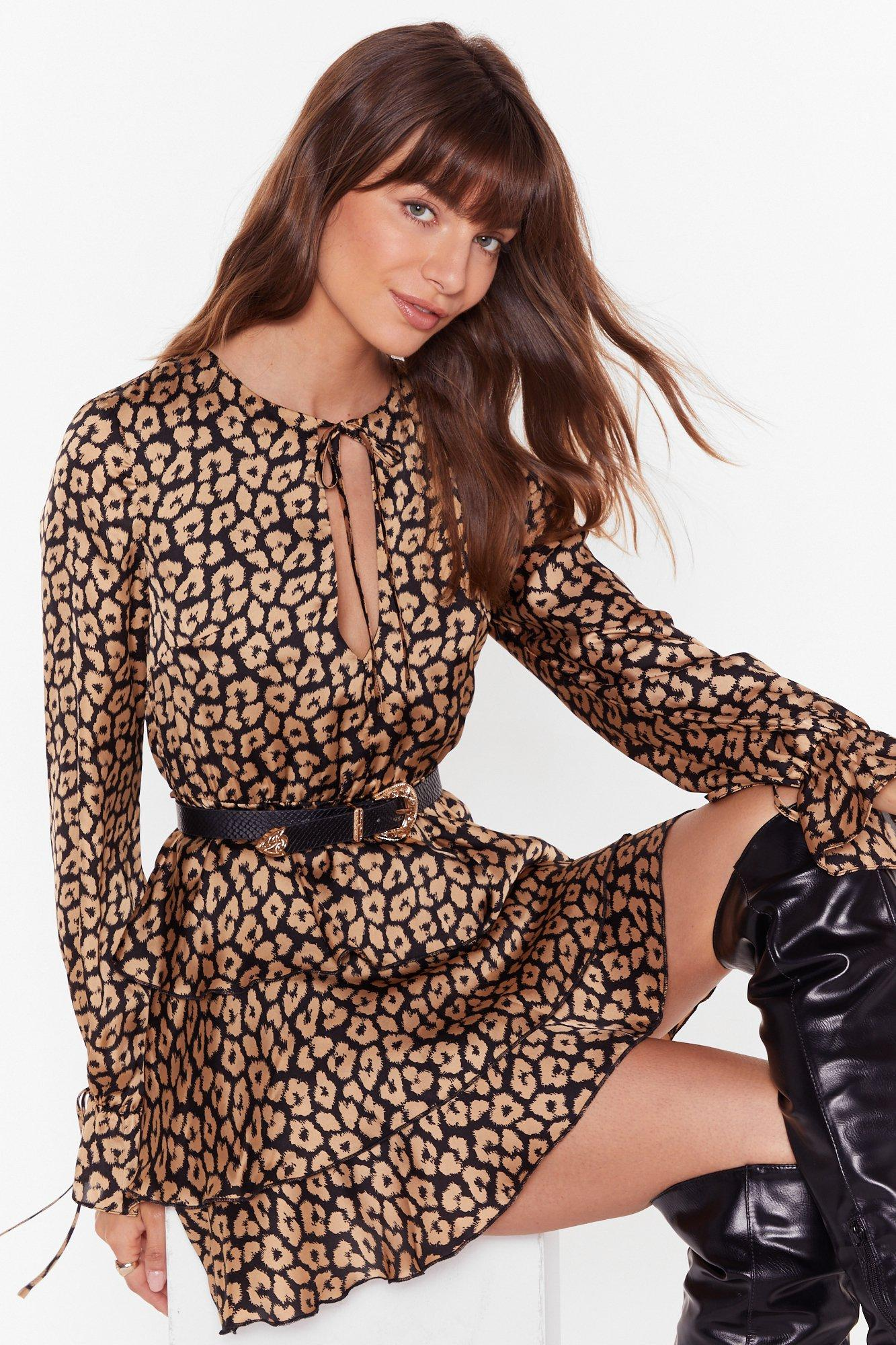 Image of Here and Meow Tiered Leopard Dress