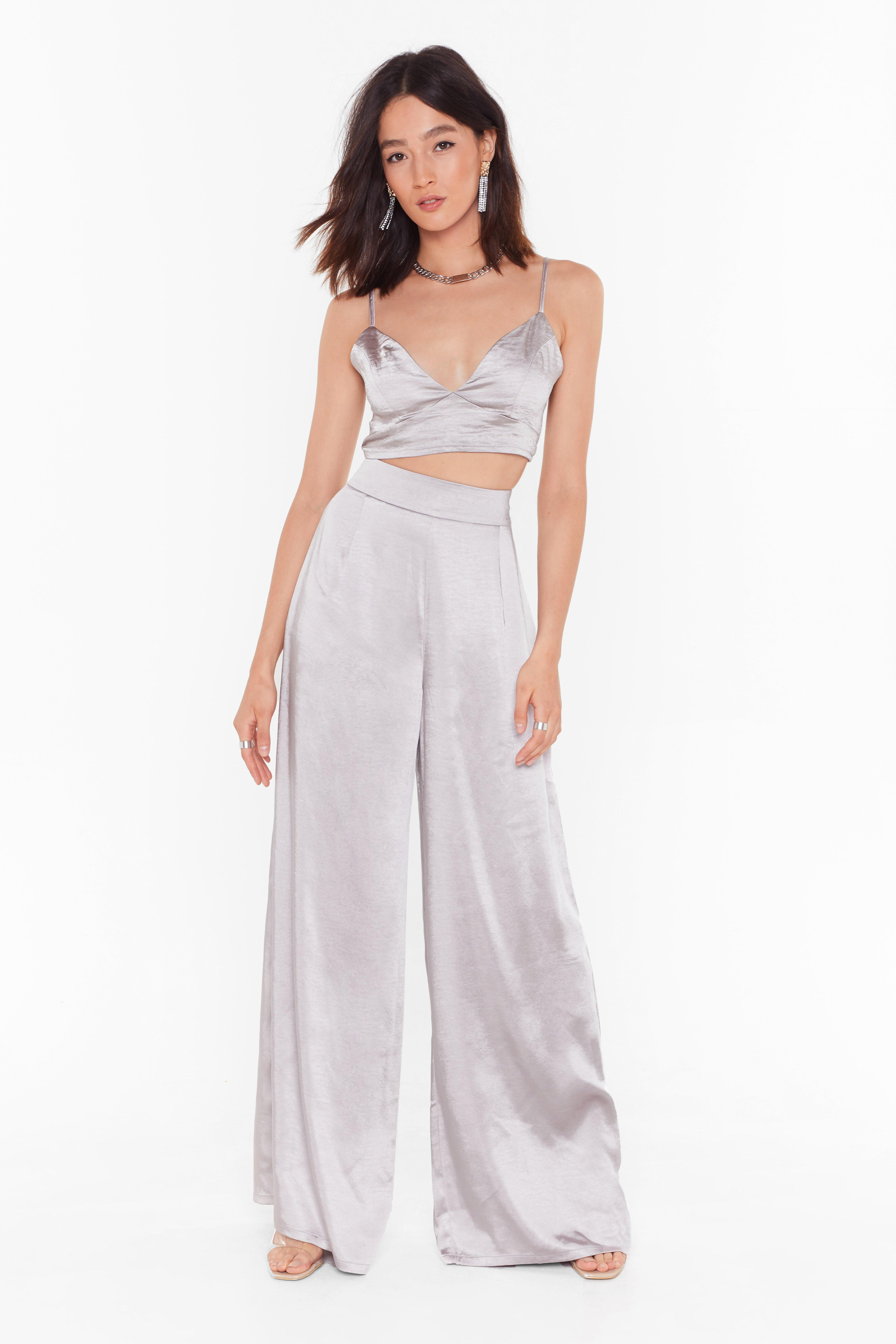 Image of Dreaming of You Satin Wide-Leg Pants