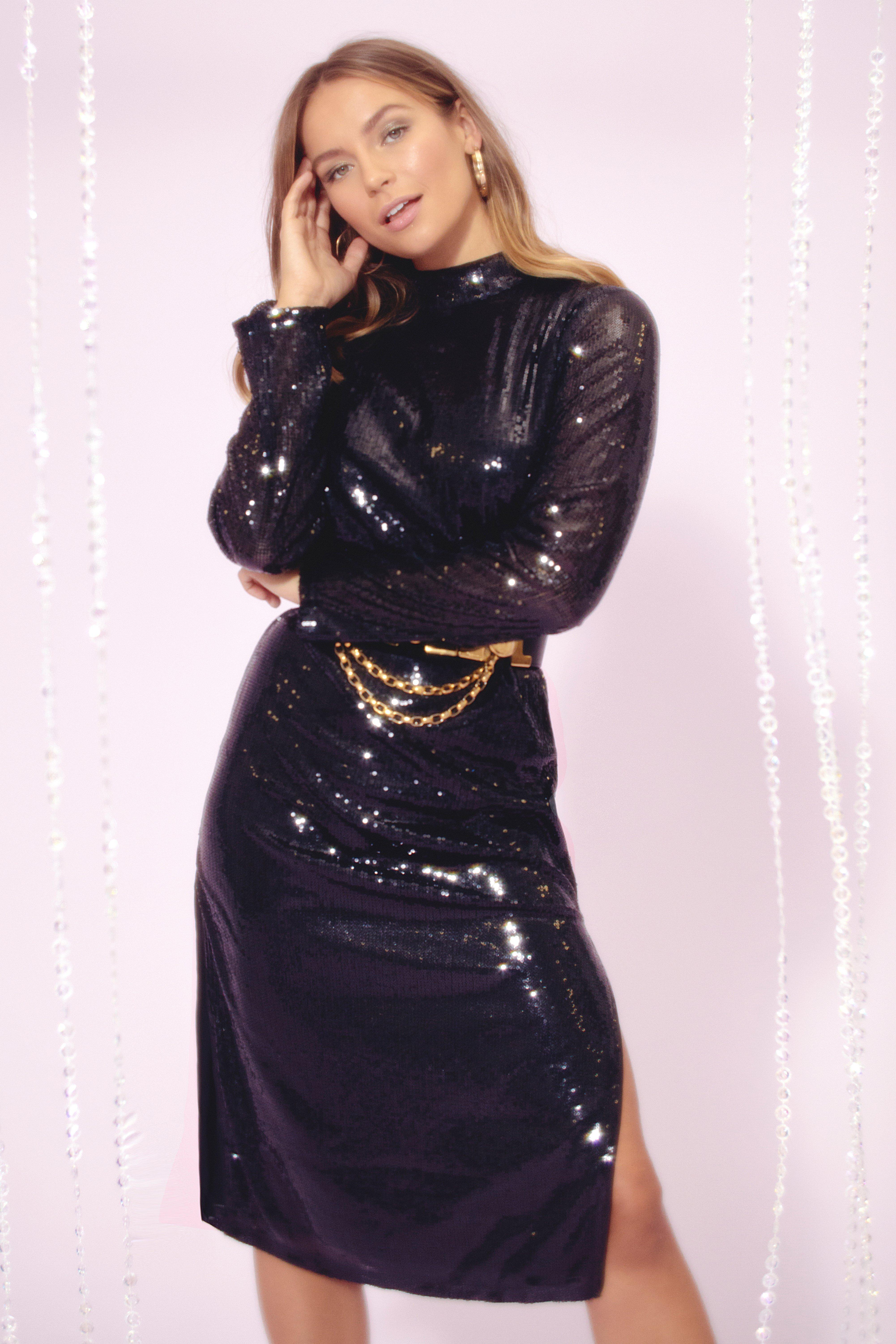 Image of Sequin You Over High Neck Midi Dress