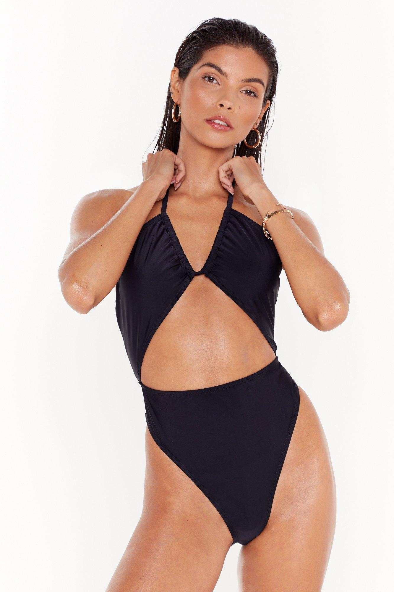 Image of Cut-Out Your Losses Halter High-Leg Swimsuit