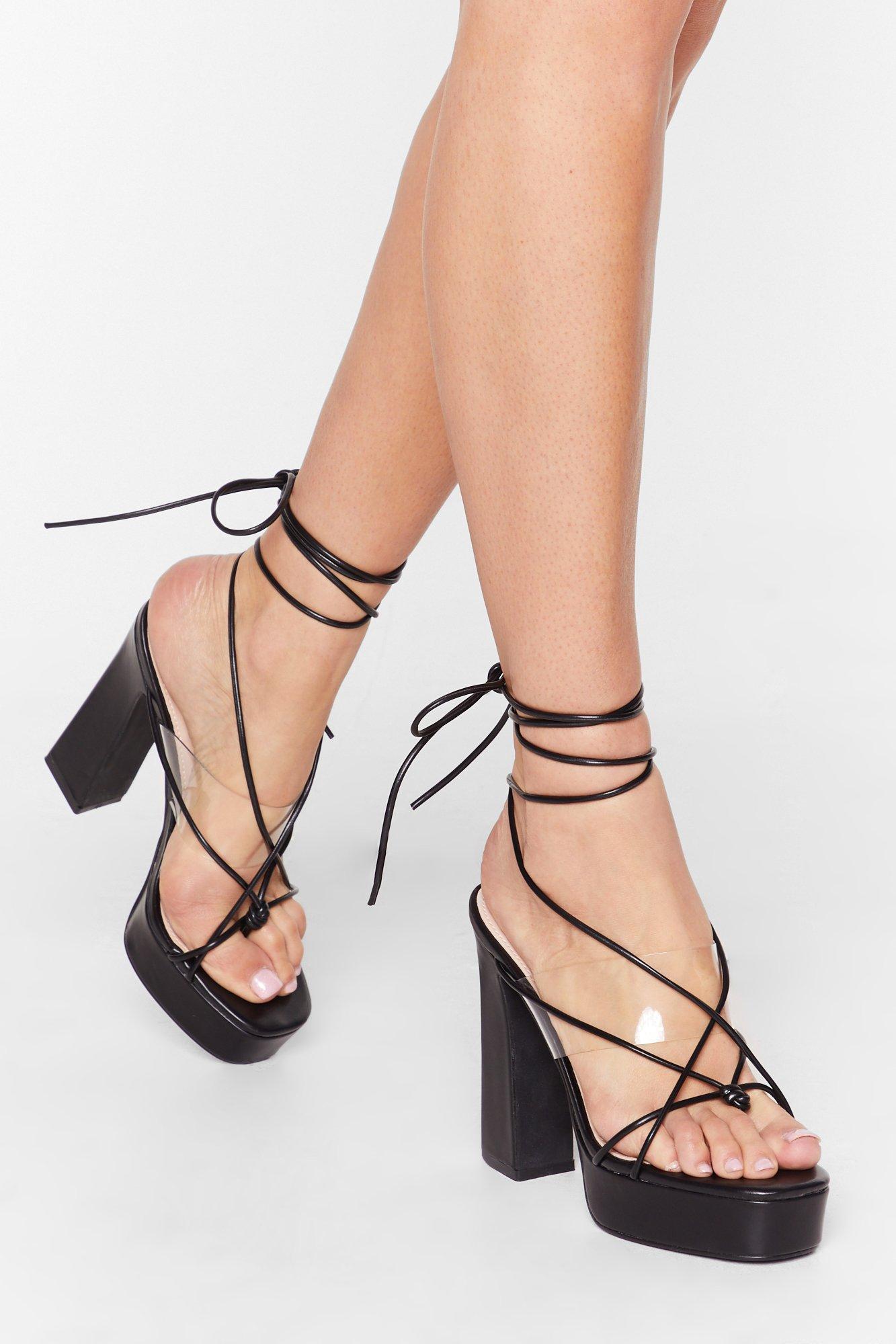 Image of Come Back Tie Mine Clear Platform Heels