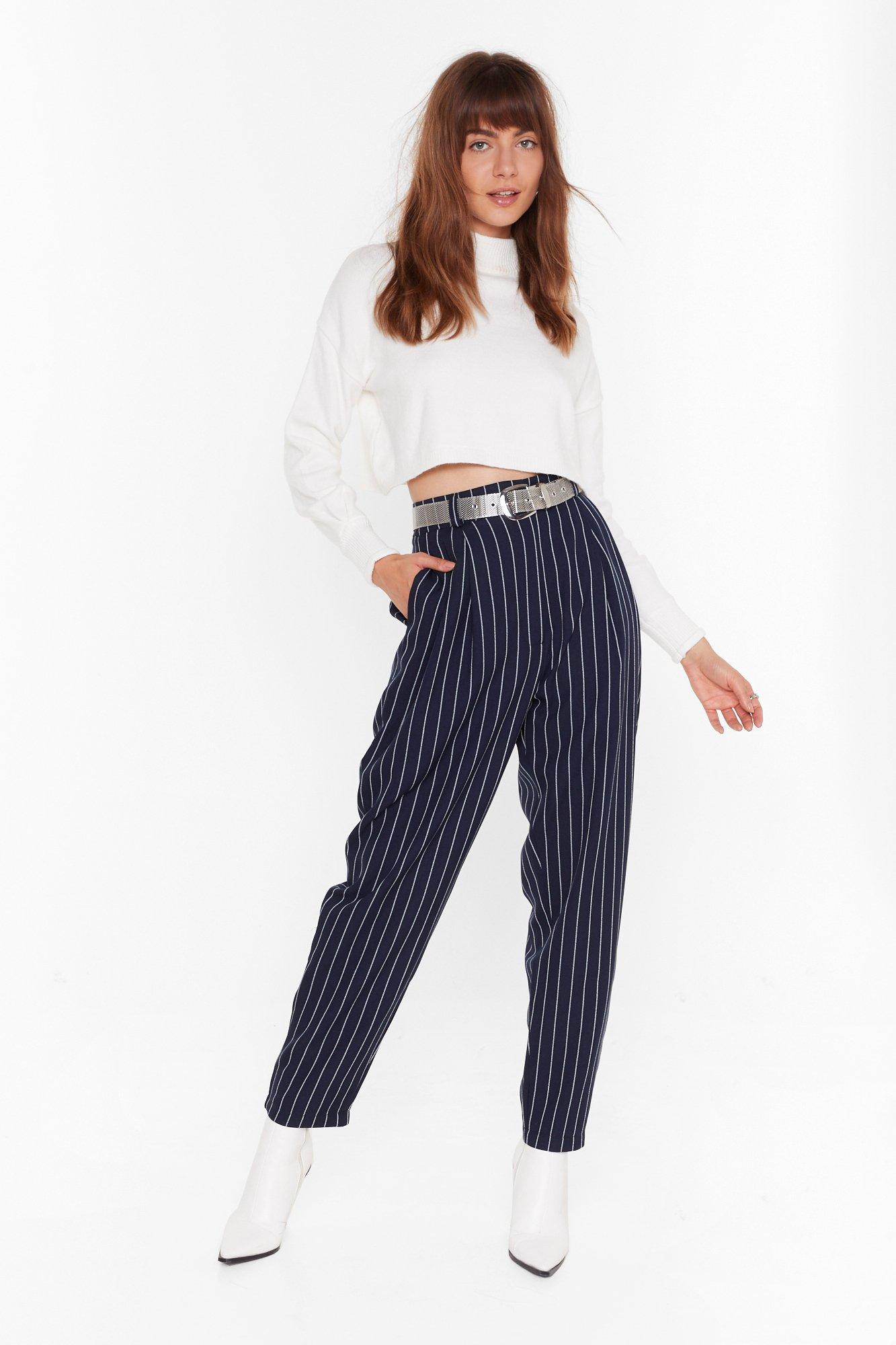 Image of As Line Goes By Tapered Pinstripe Pants