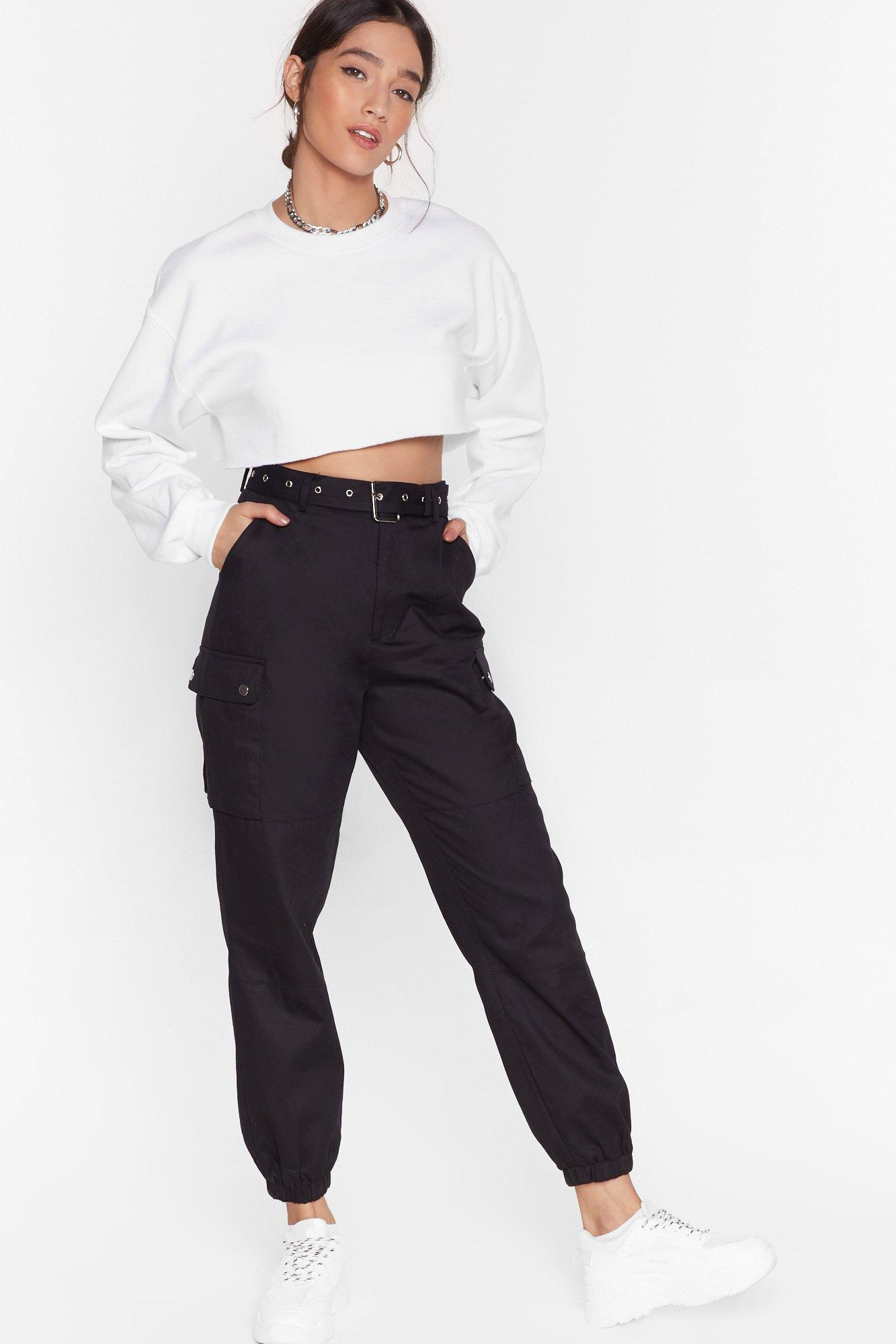 Image of Cargo Back High-Waisted Belted Pants