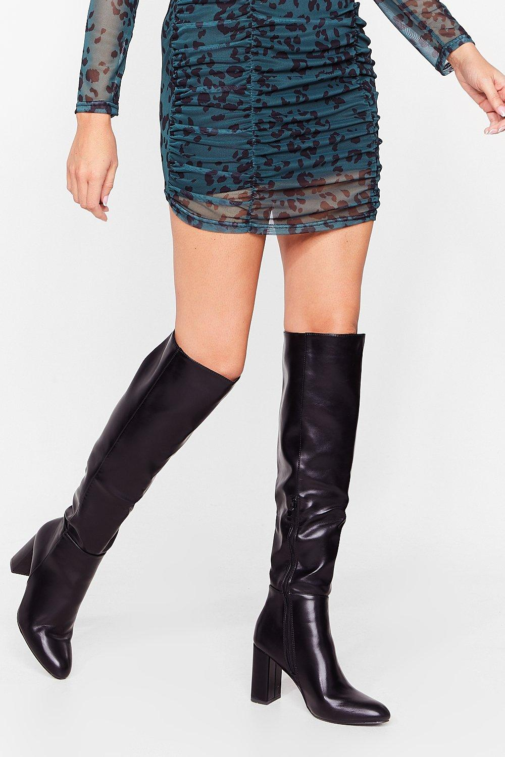 Image of Show Up Over-the-Knee Faux Leather Boots