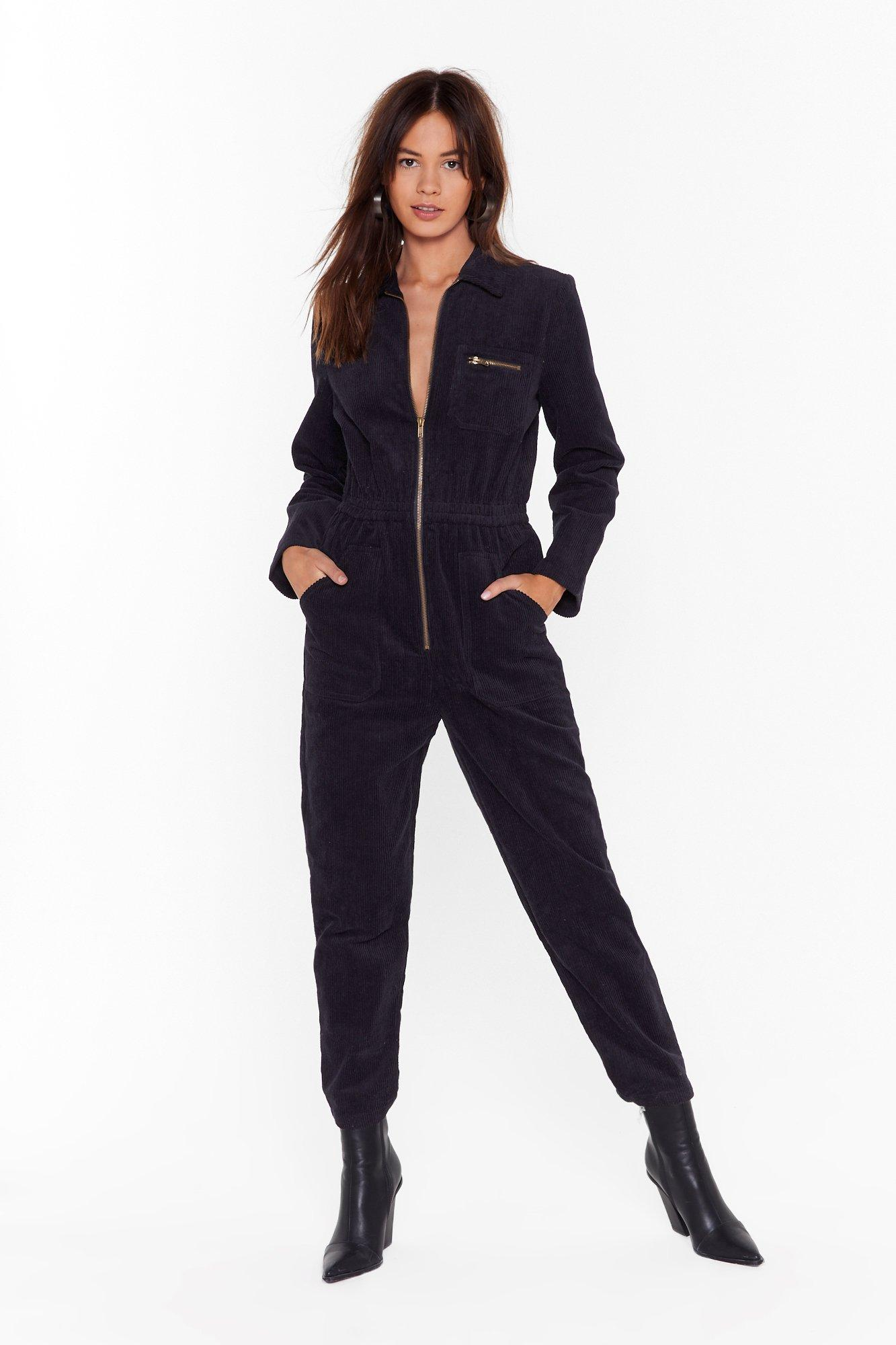 Image of Set the Record-uroy Straight Relaxed Boilersuit