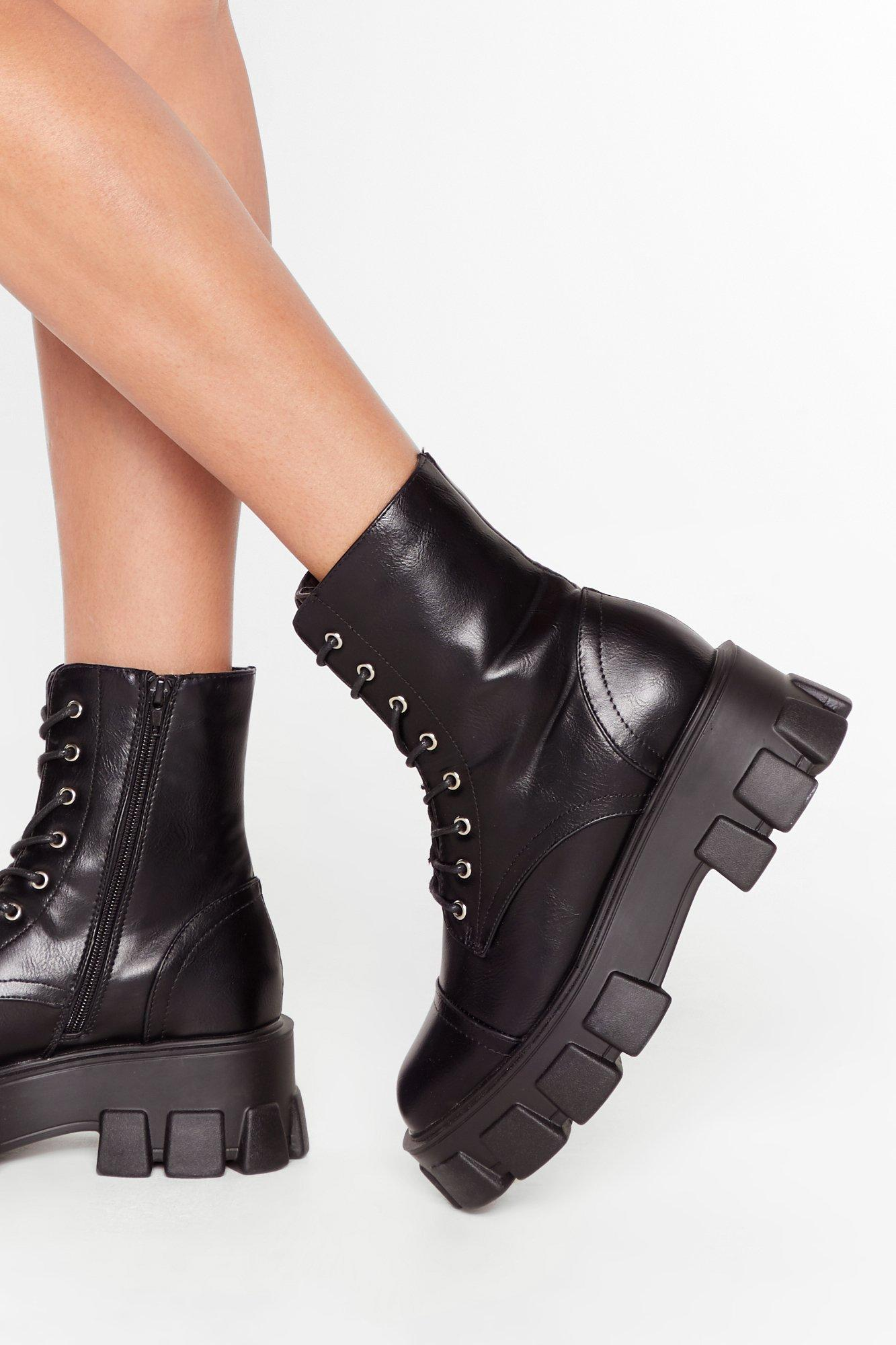 Image of Admit De-cleat Faux Leather Lace-Up Boots