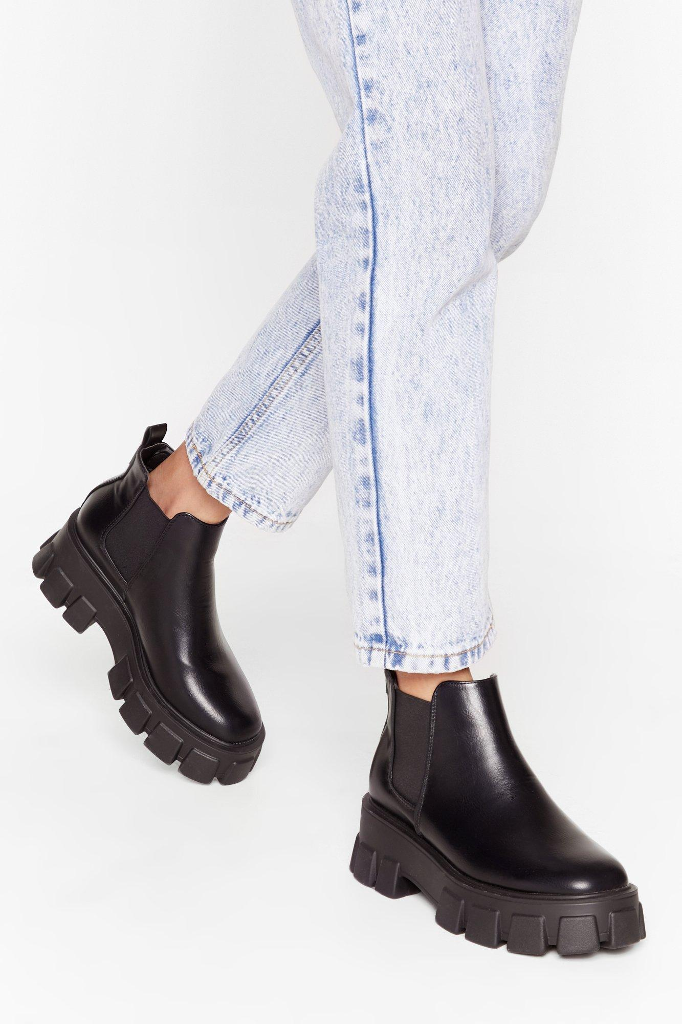 Image of You're in the Driving Cleat Faux Leather Boots