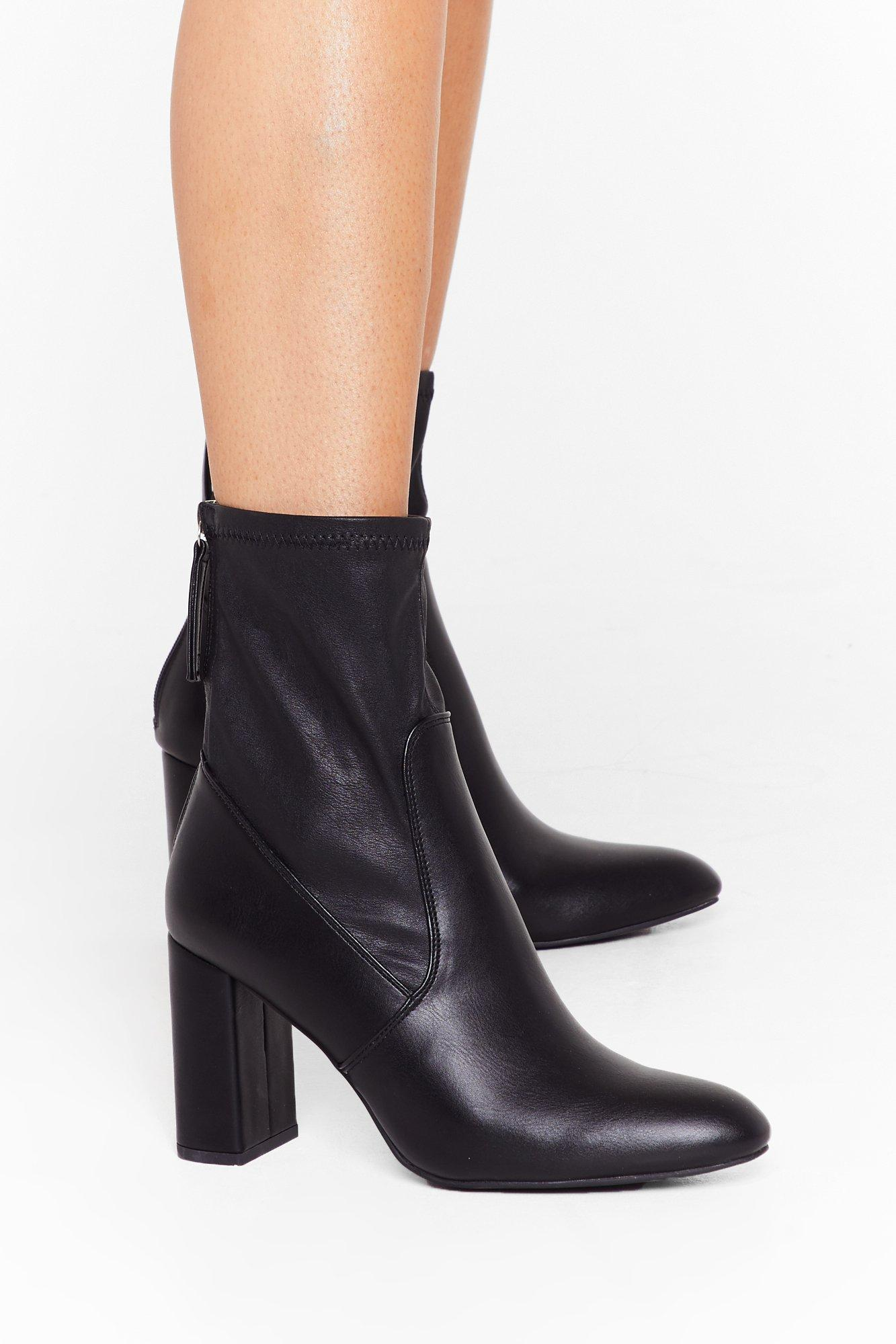 Image of Sock 'Em Dead Faux Leather Block Heel Boots