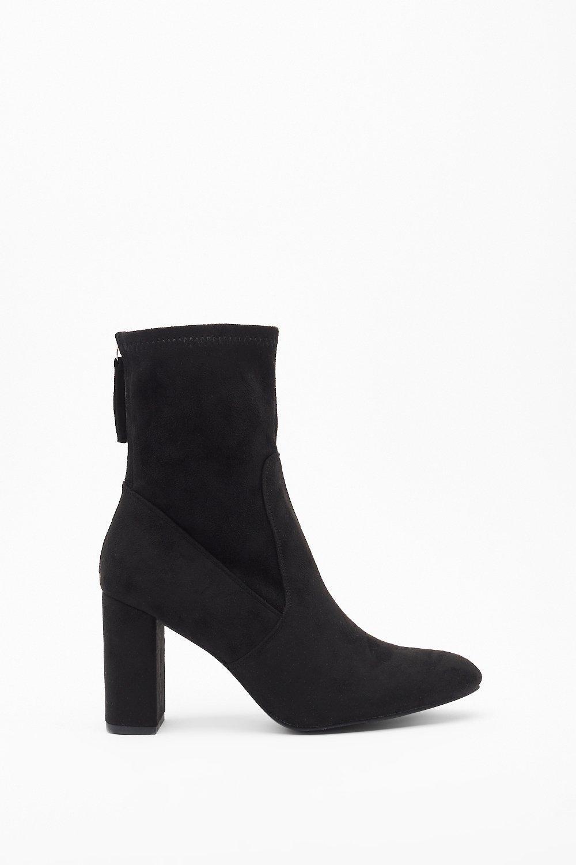 Image of Sock 'Em Dead Faux Suede Block Heel Boots