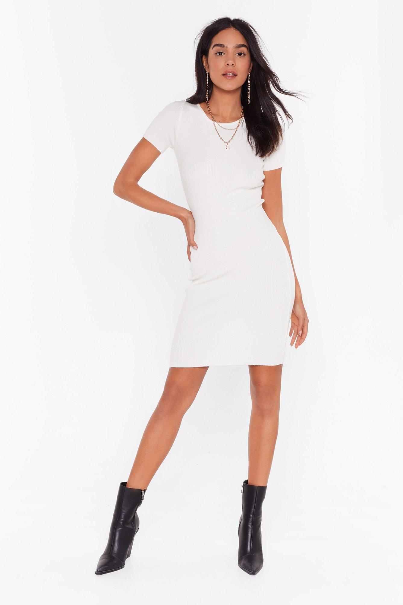 Image of Get Rib Right Crew Neck Midi Dress
