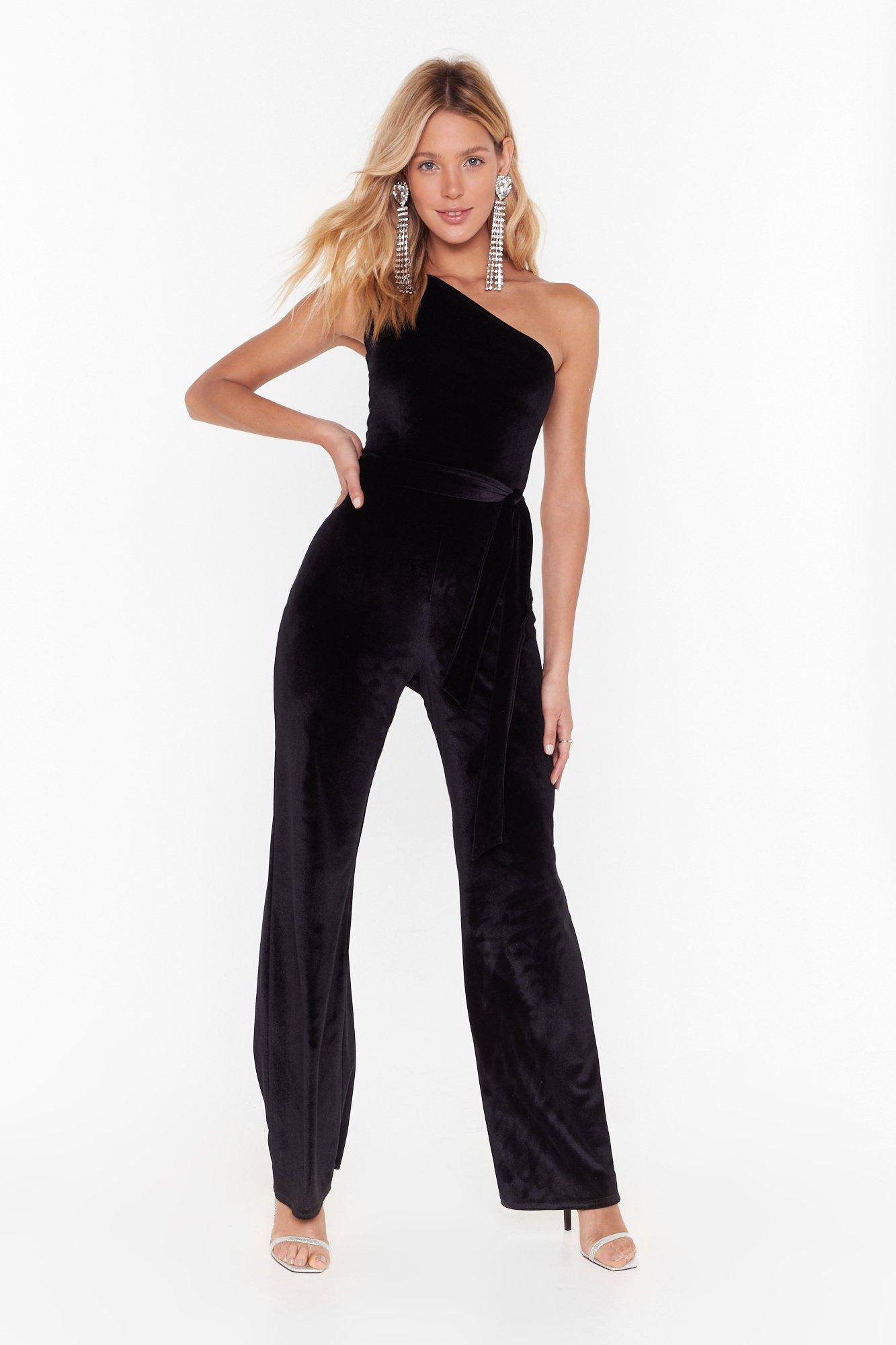 Image of Be the One Shoulder Velvet Jumpsuit