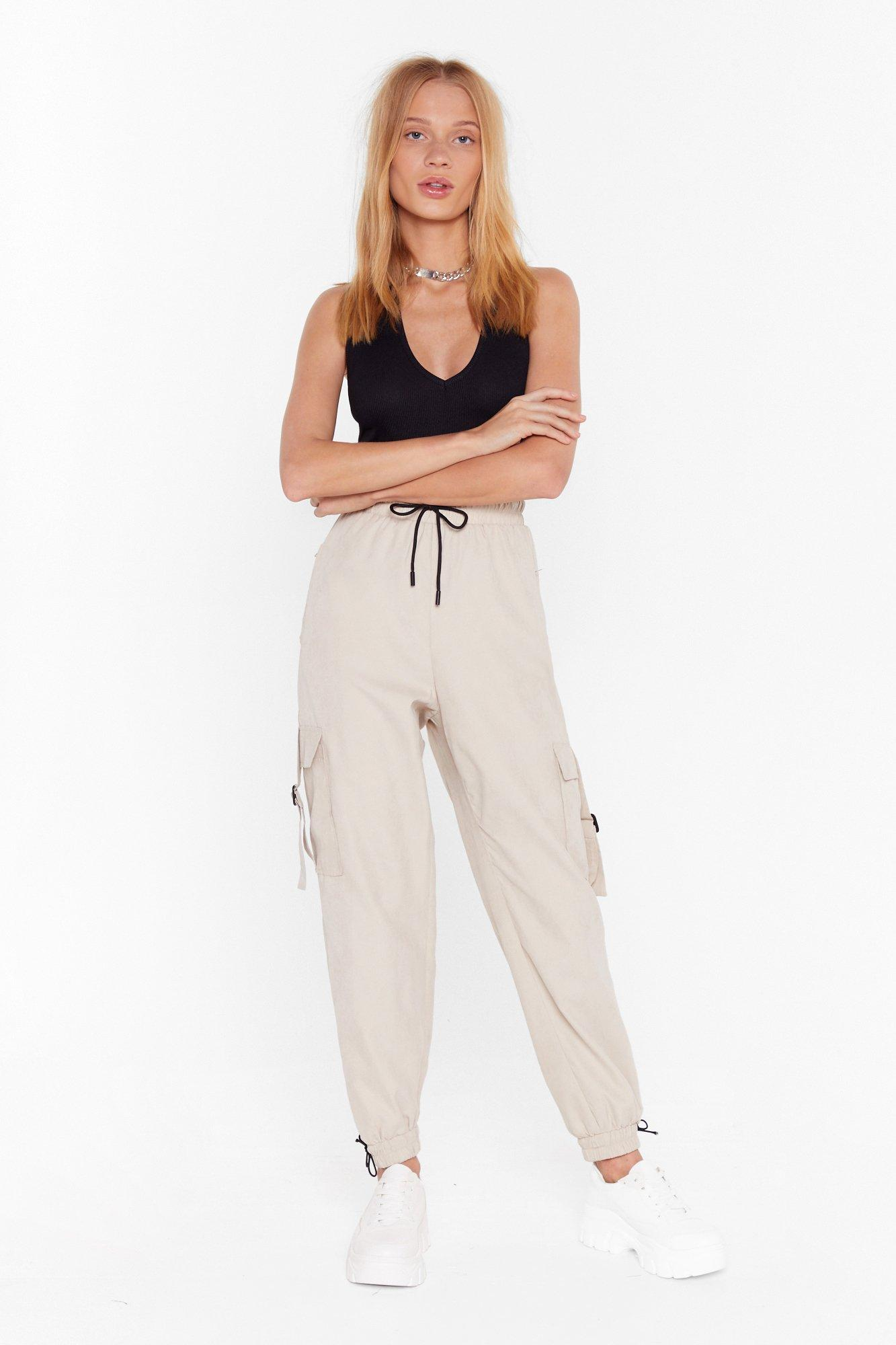 Image of Drawstring to a Close High-Waisted Cargo Pants