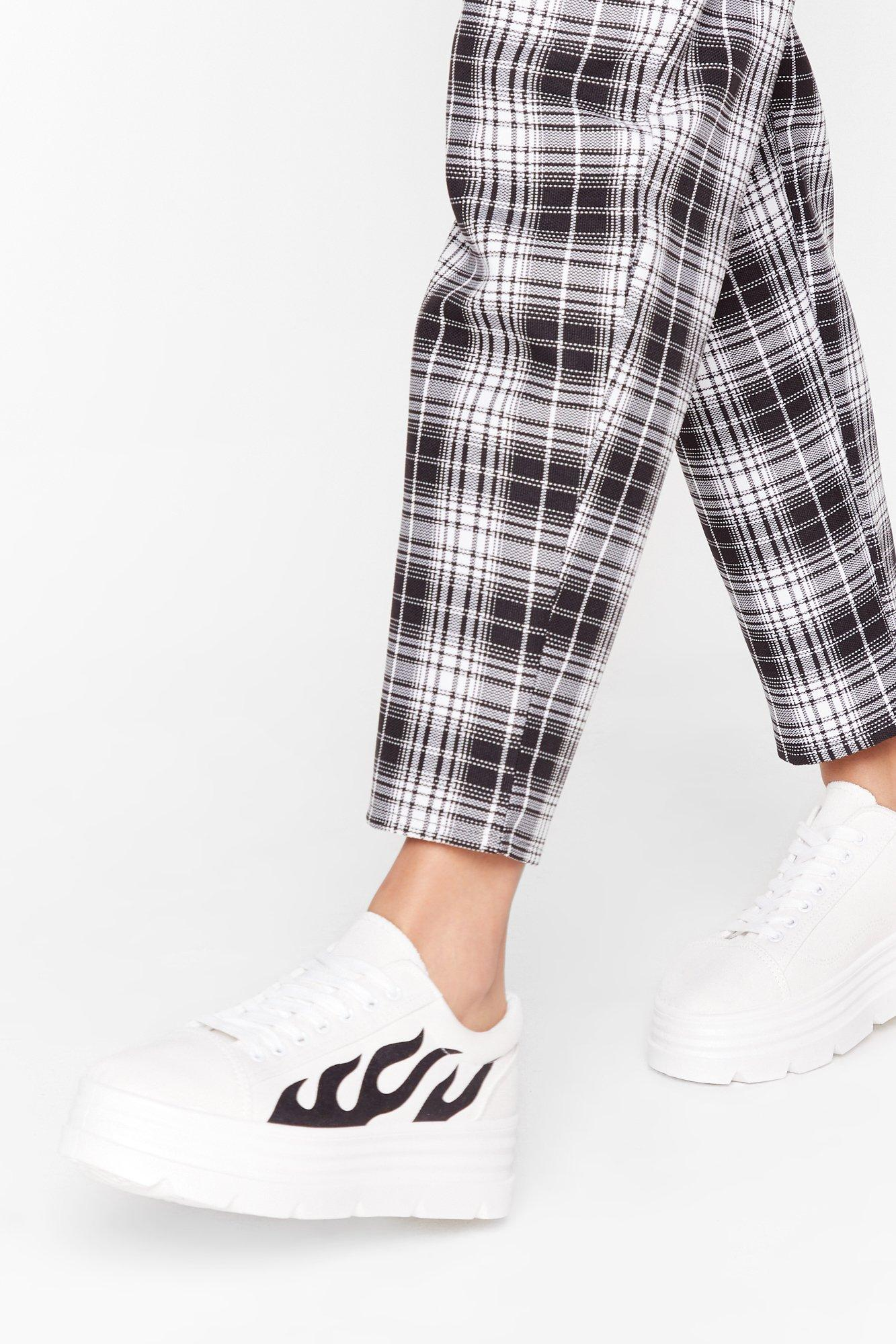 Image of Fire It Up Flame Faux Leather Sneakers