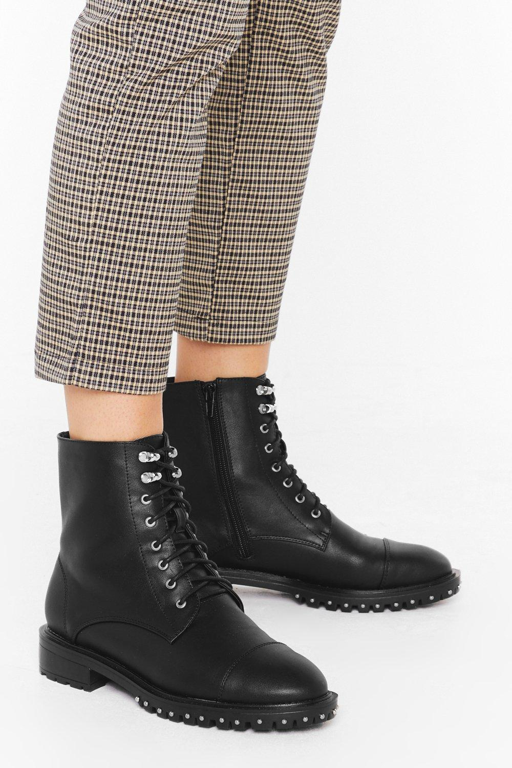 Image of You Spike Me Too Much Faux Leather Biker Boots
