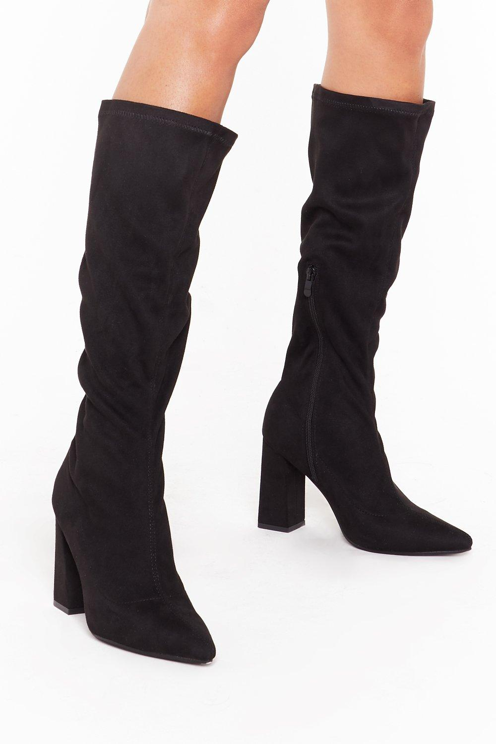 Image of Let Me Point Out Faux Suede Knee High Boots