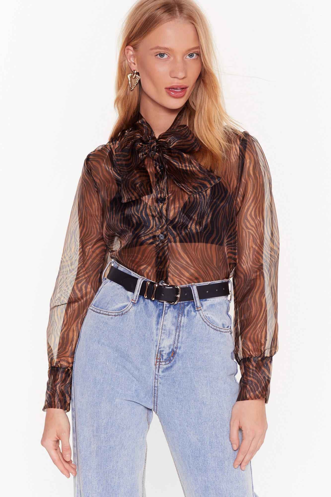 Image of Wild Here Wild Now Tiger Organza Blouse