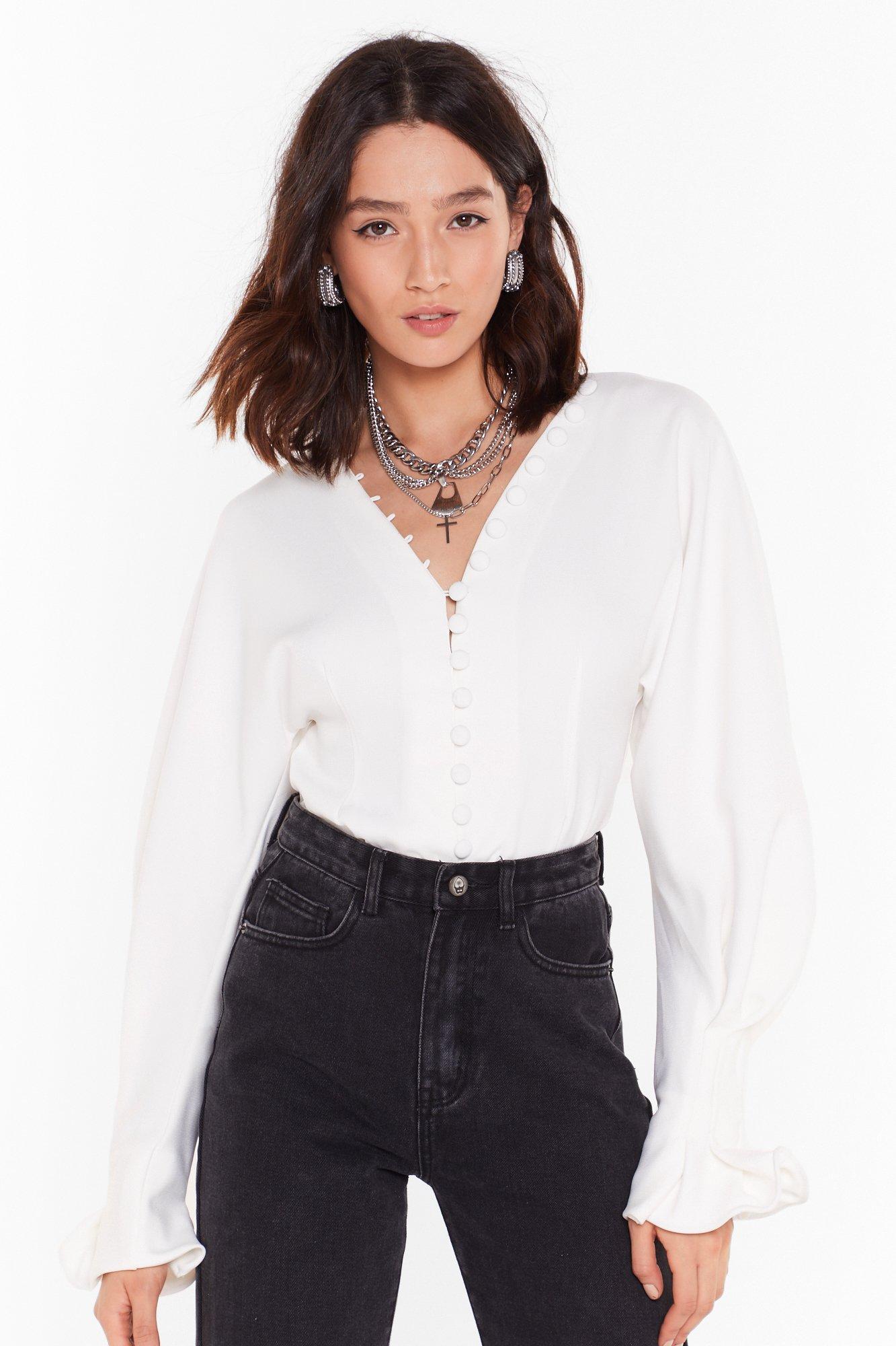 Image of Button It Balloon Sleeve Shirt