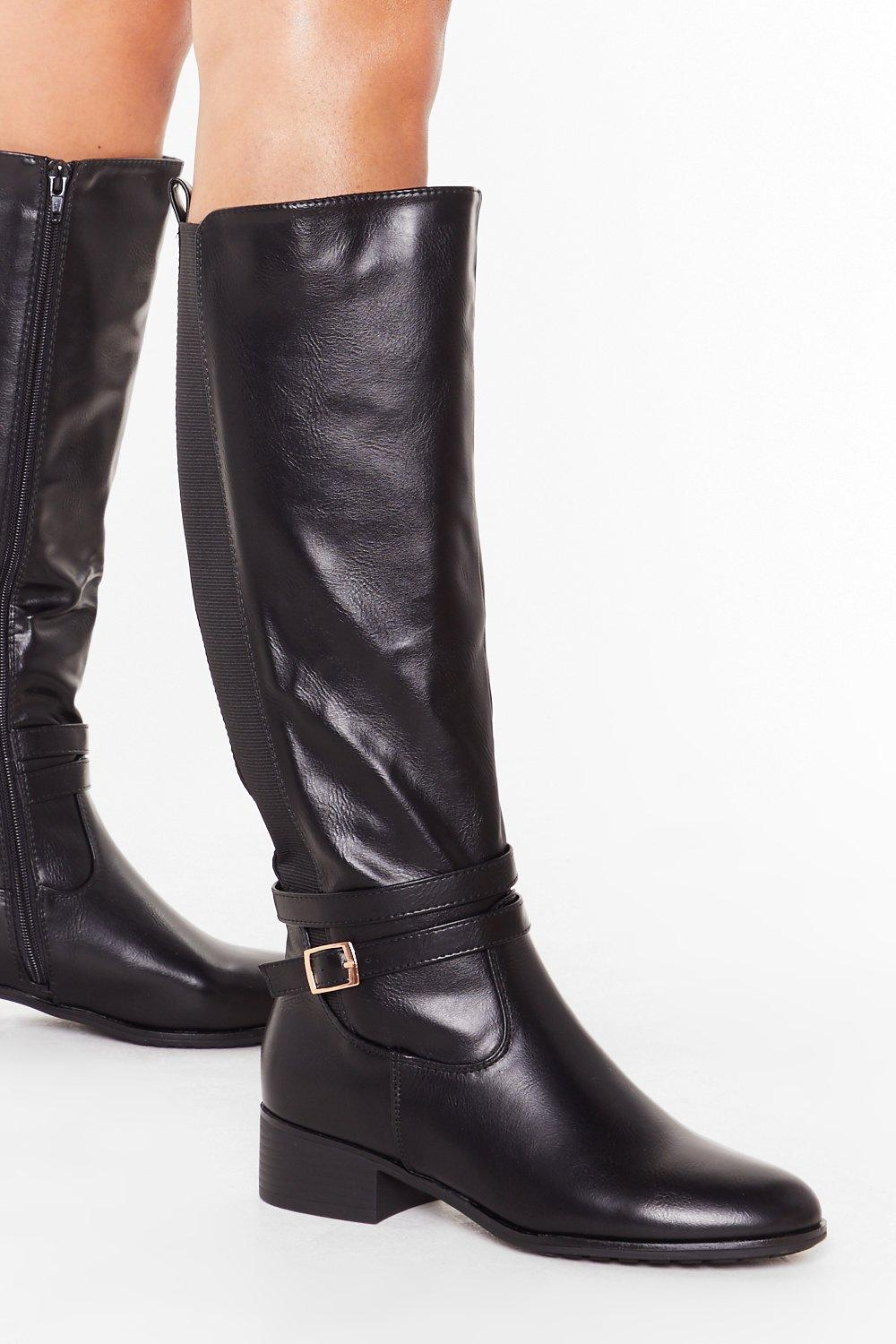 Image of We'll Faux Leather Know Knee High Buckle Boots