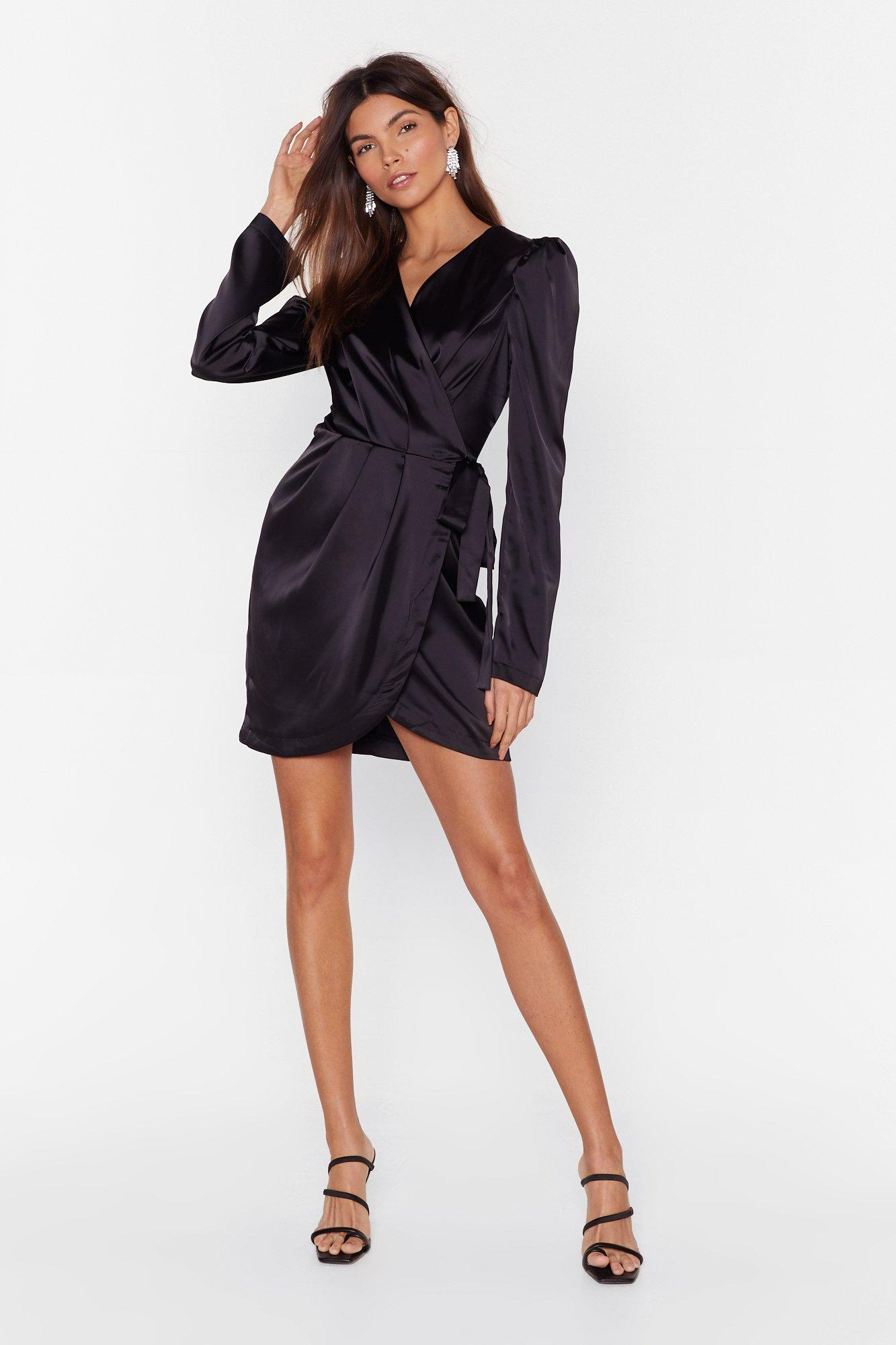 Image of Tie the Hell Not Satin Wrap Dress