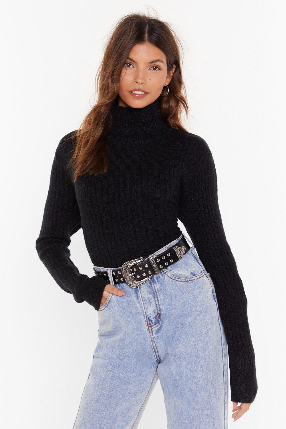Image of Knit Was Worth Knit Ribbed High Neck Sweater