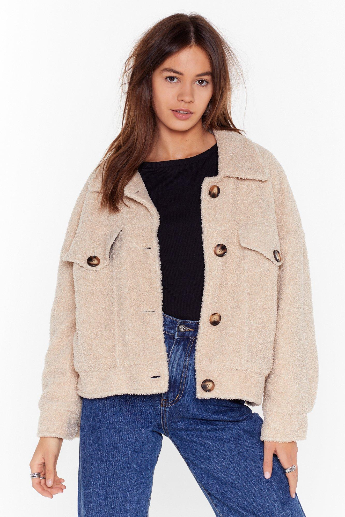 Image of Where Fur You Faux Shearling Shirt Jacket