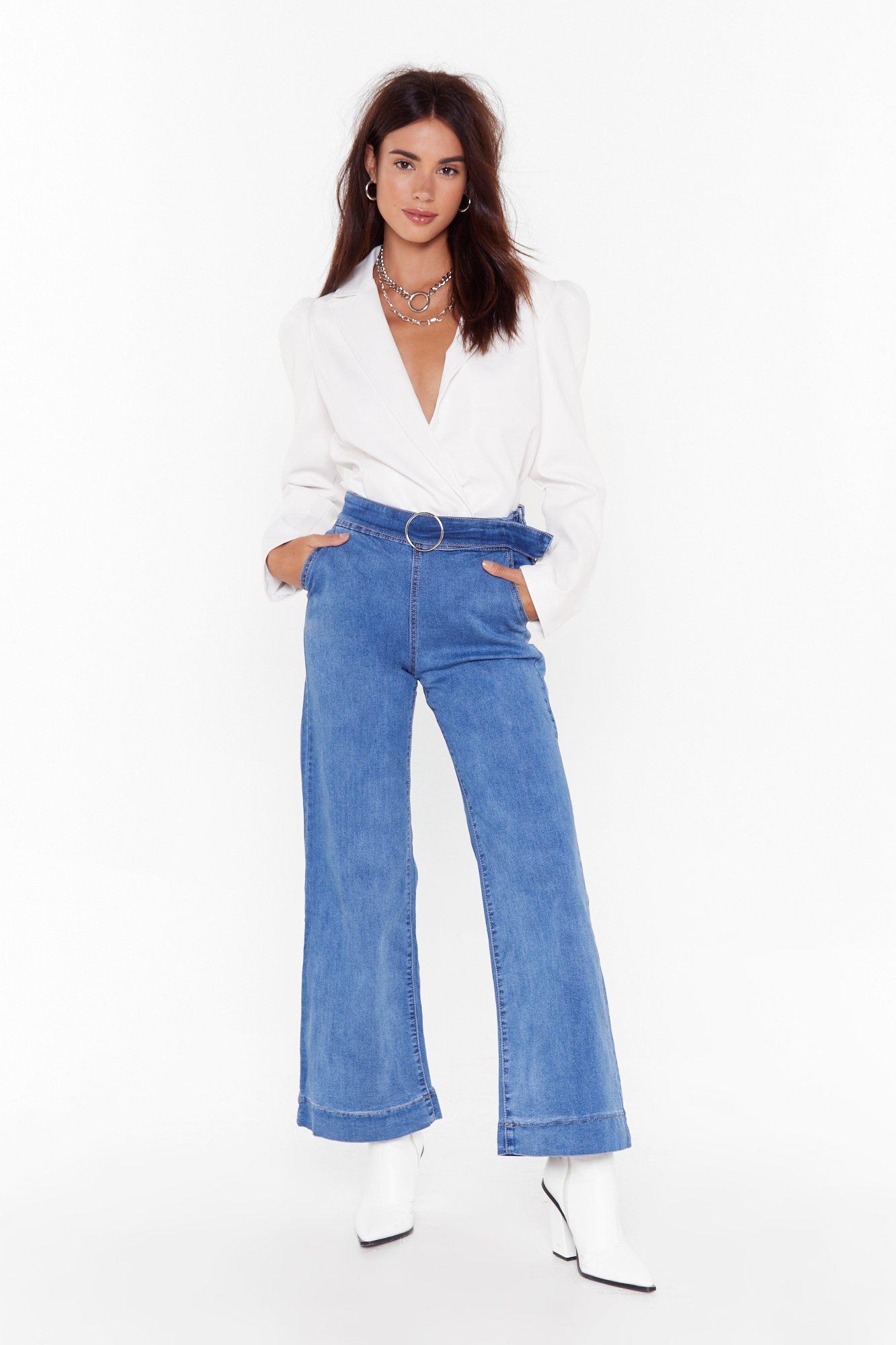Image of Keep Up Wide-Leg Denim Jeans