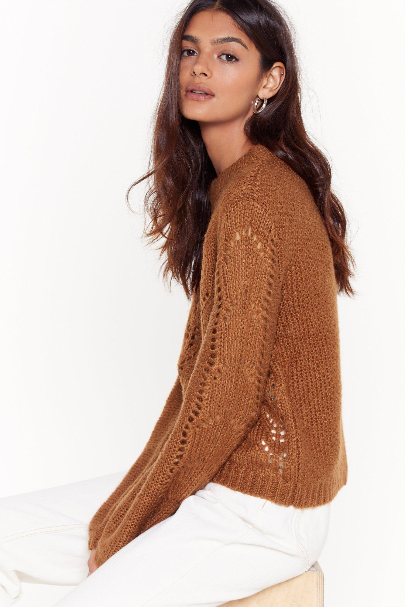 Image of Different Pointelle of View Knitted Sweater