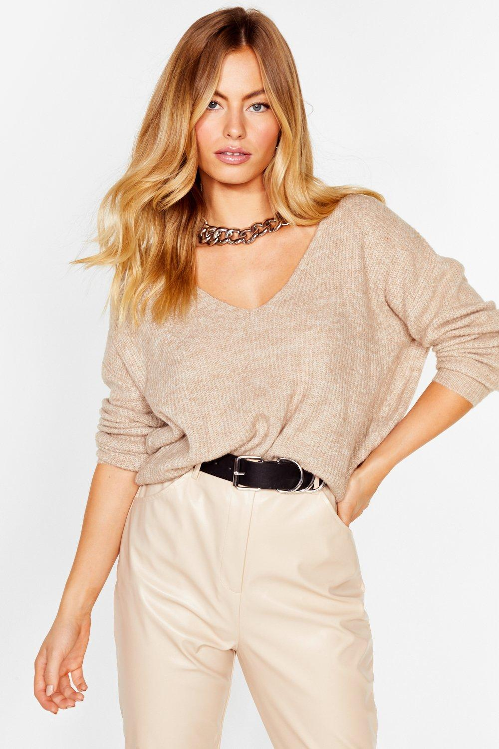 Image of Now You V It Knitted V-Neck Sweater