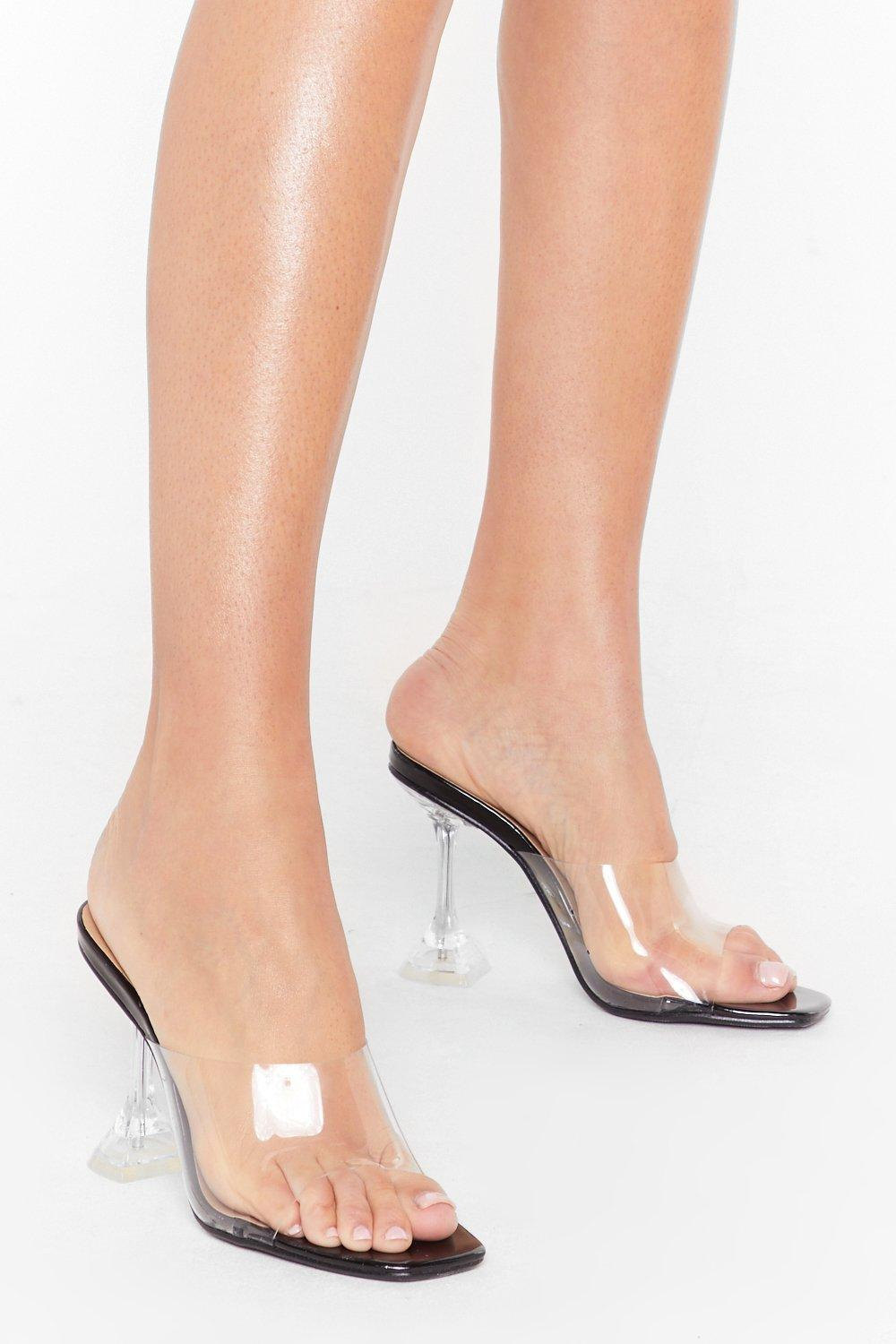 Image of Clear Off Faux Leather Stiletto Mules
