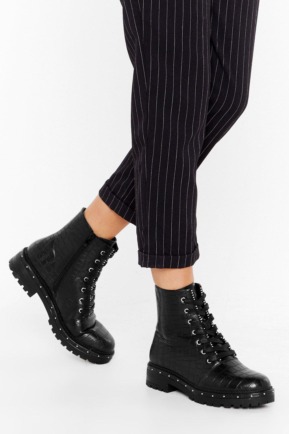 Image of Stud Times Ahead Faux Leather Croc Boots