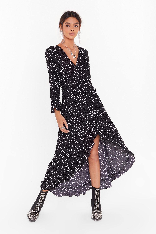 Image of It's Dot Your Fault Wrap Midi Dress