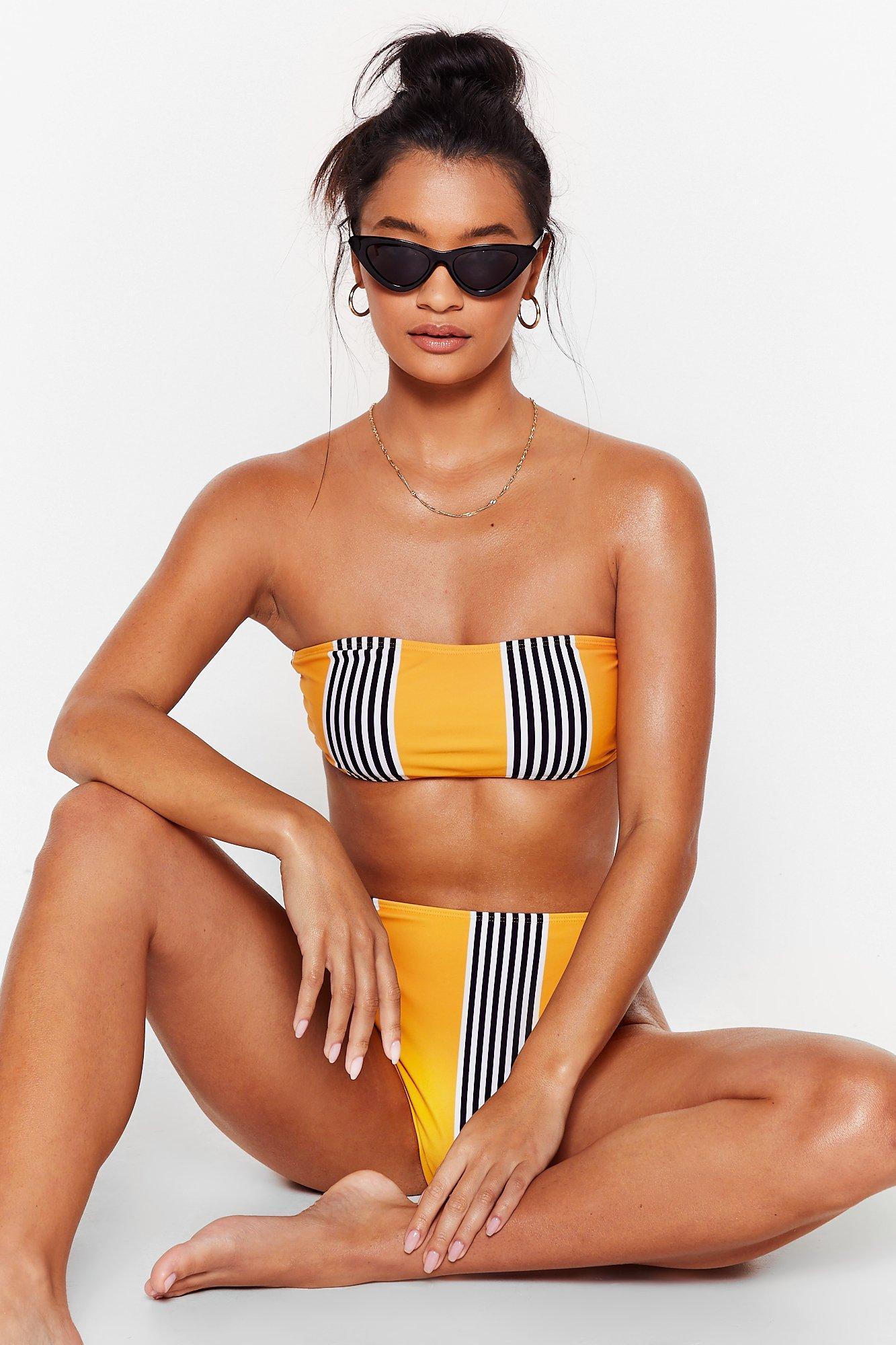 Image of Stripe to the Beach High-Leg Bikini Set