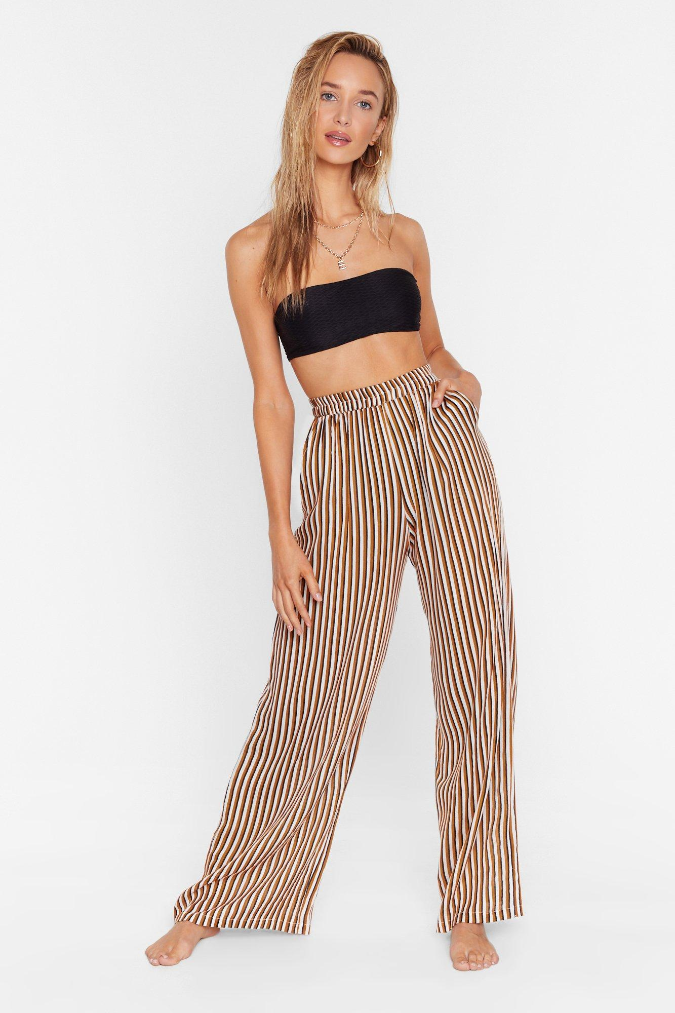 Image of Straight to the Beach Striped Cover-Up Pants