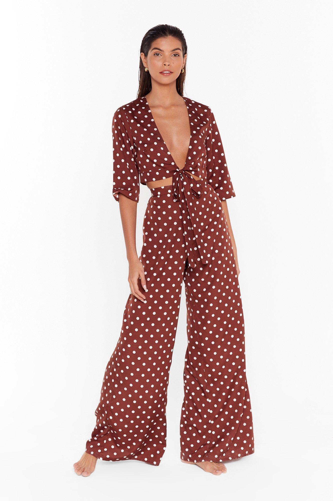 Image of Polka dot beach trousers