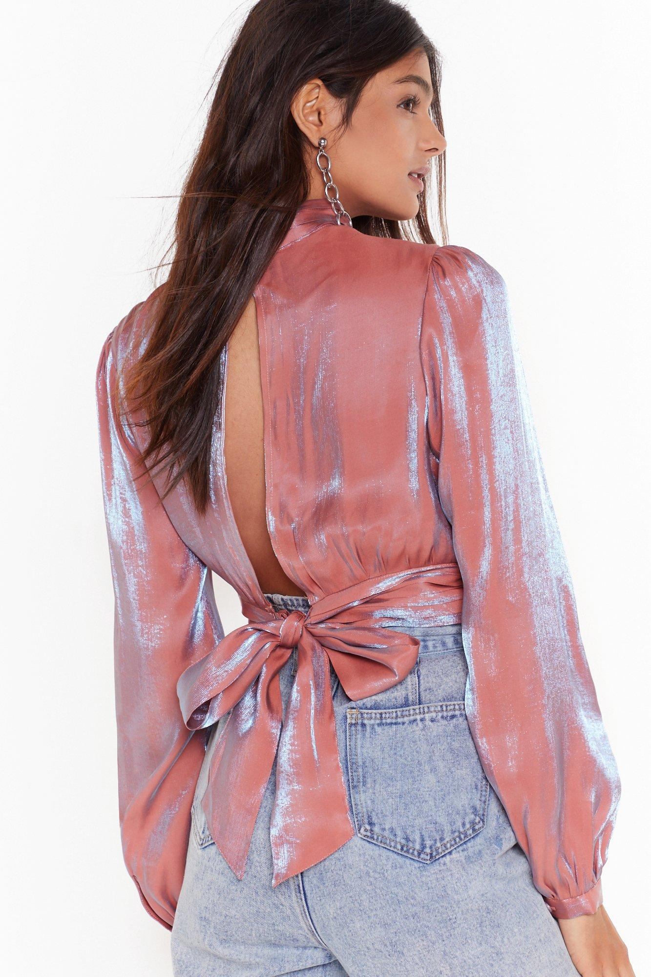 Image of Shimmer in Your Eyes High Neck Cropped Blouse