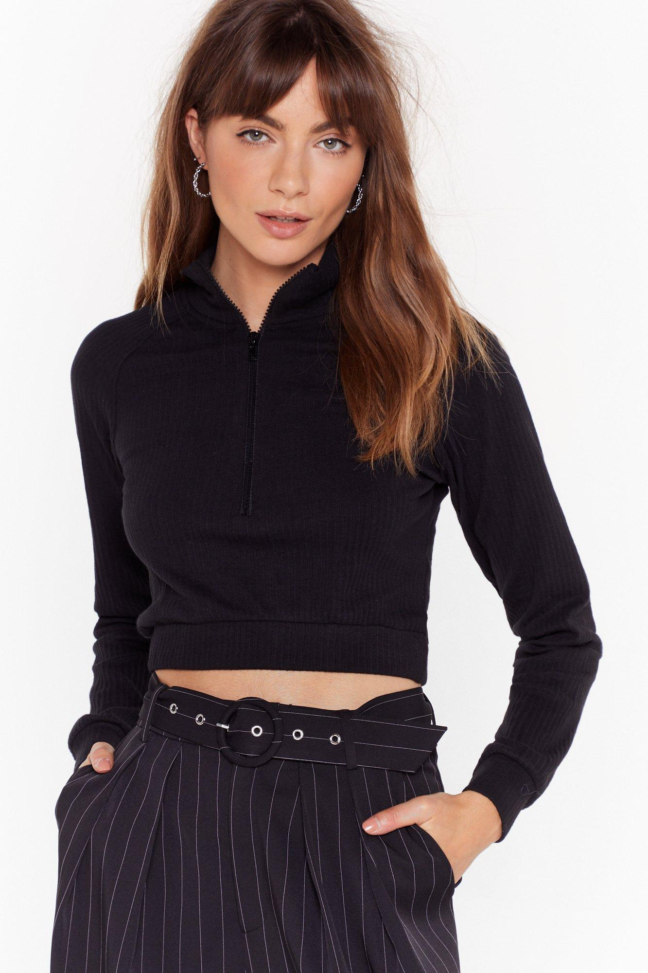 Image of Got Zip Where We Want Zip High Neck Ribbed Top
