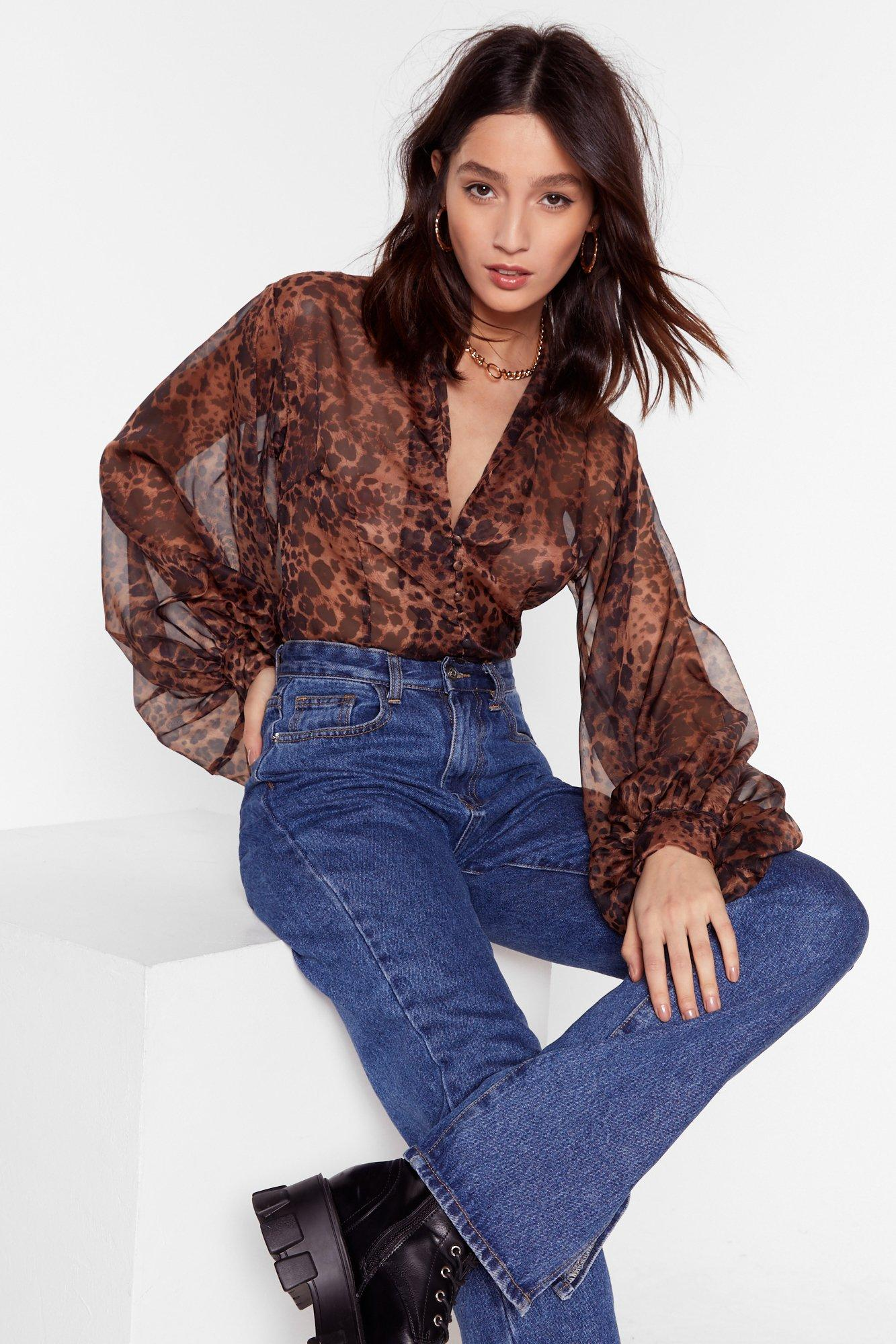 Image of All I'm Sheer-ing Leopard Balloon Sleeve Blouse