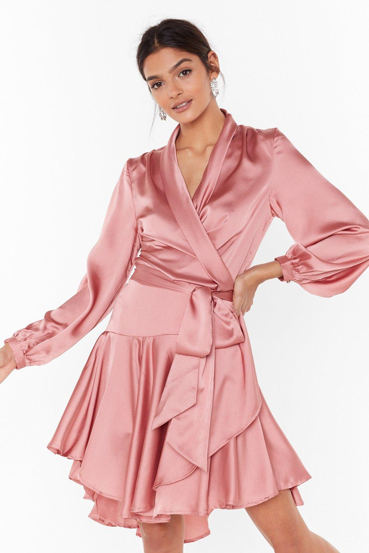 Image of Hey Girl What's Satin-ing Wrap Dress