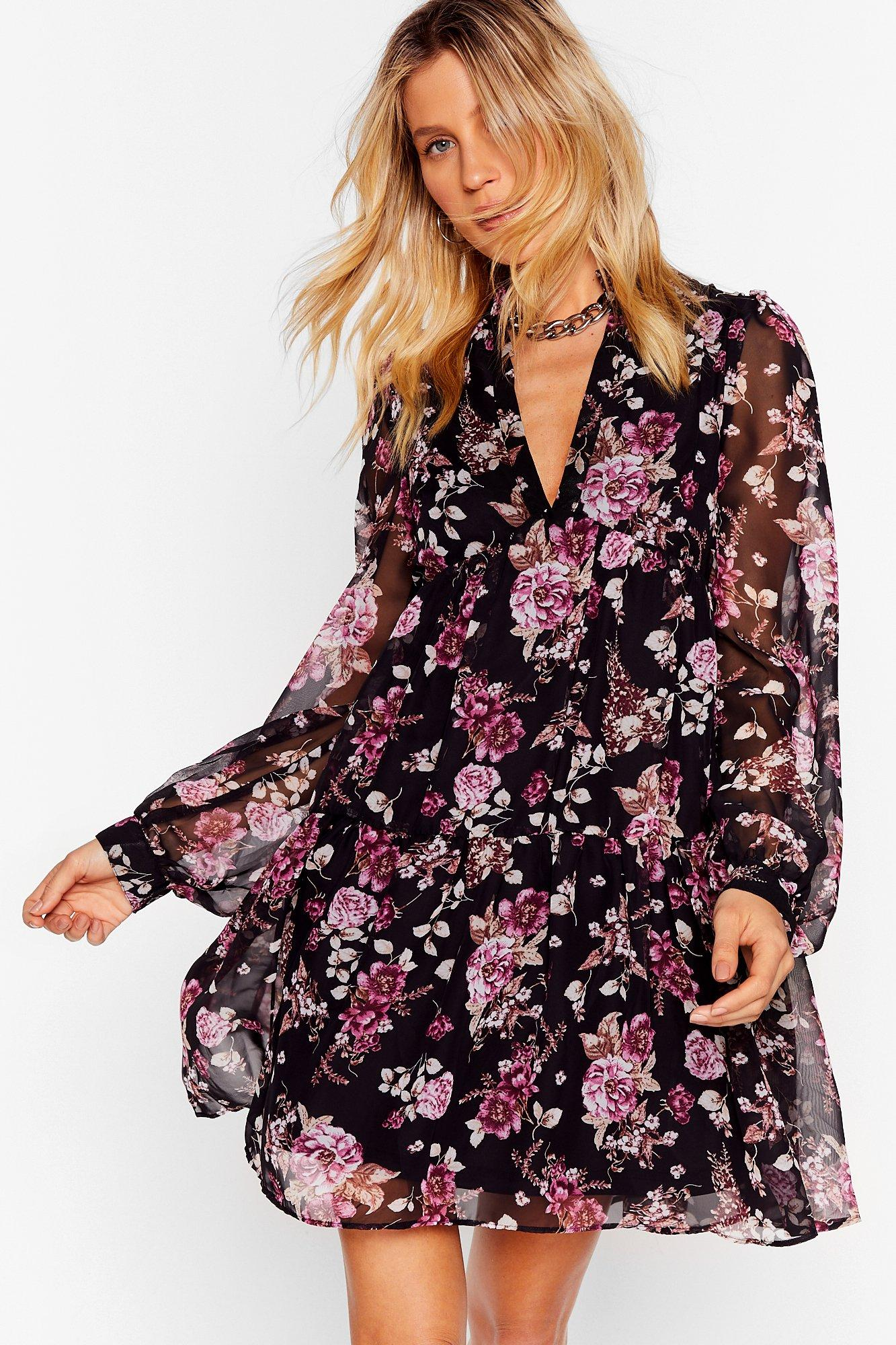 Image of Wish You Were Tier Floral Mini Dress