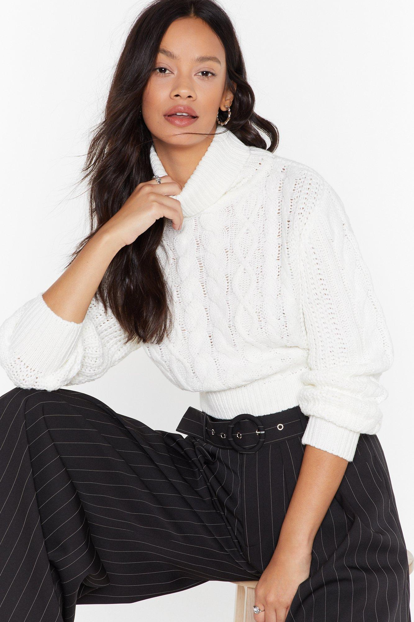 Image of Knit Back Cable Knit Sweater