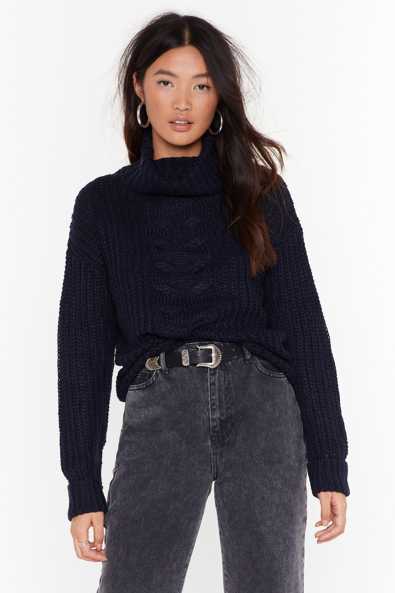 Image of Got Knit Good Cable Turtleneck Sweater