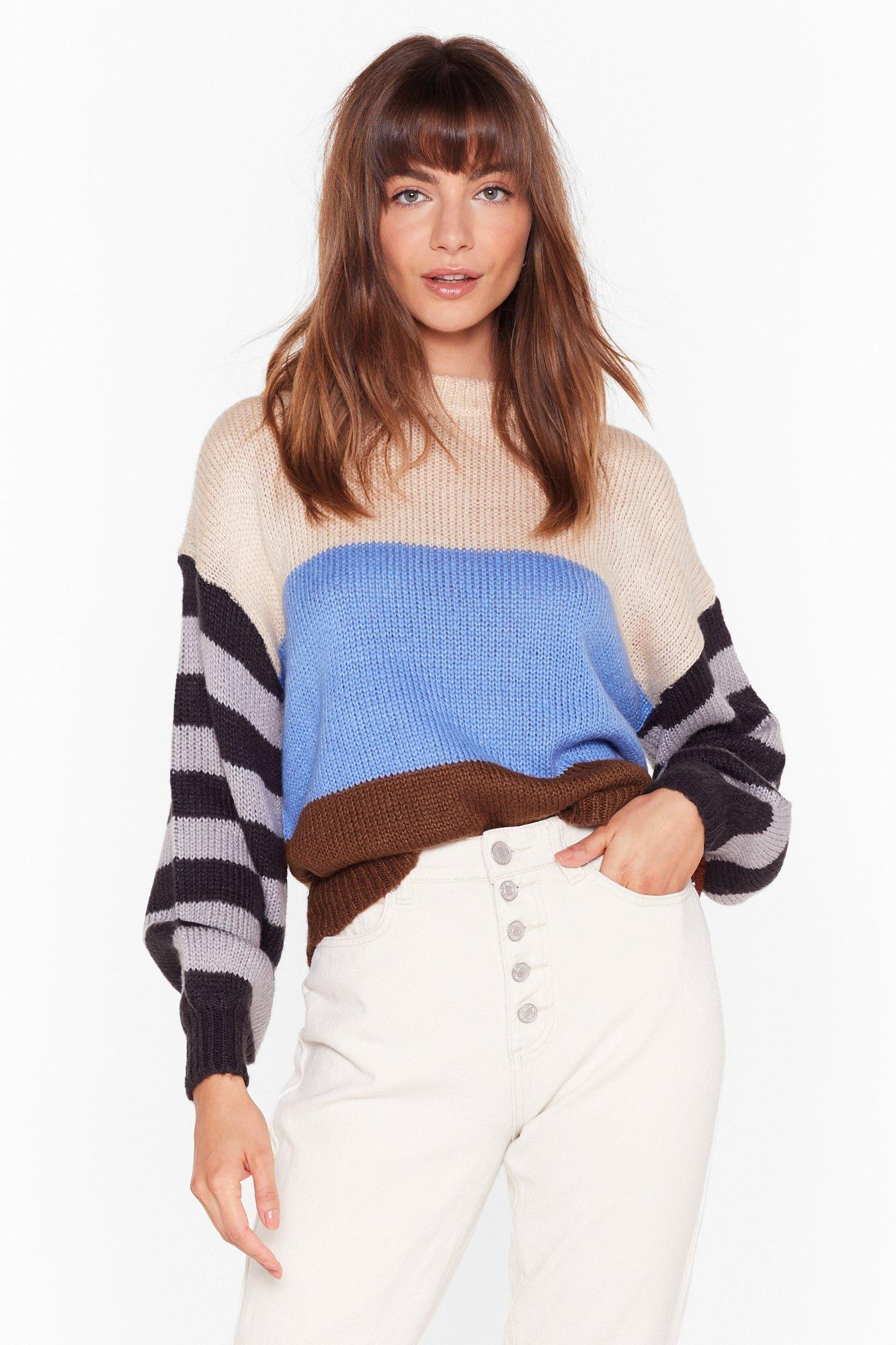 Image of My Ideal Stripe Knit Drop Sleeve Sweater