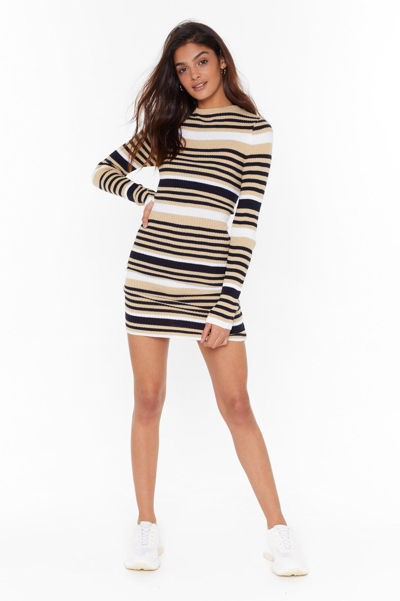 Image of Found the Stripe One Knitted Mini Dress