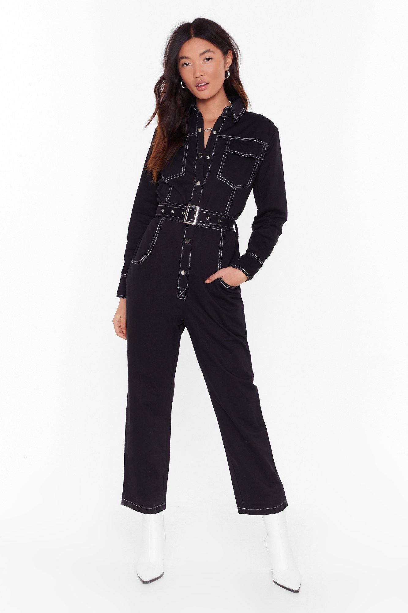 Image of Bring Stitch On Denim Belted Boilersuit