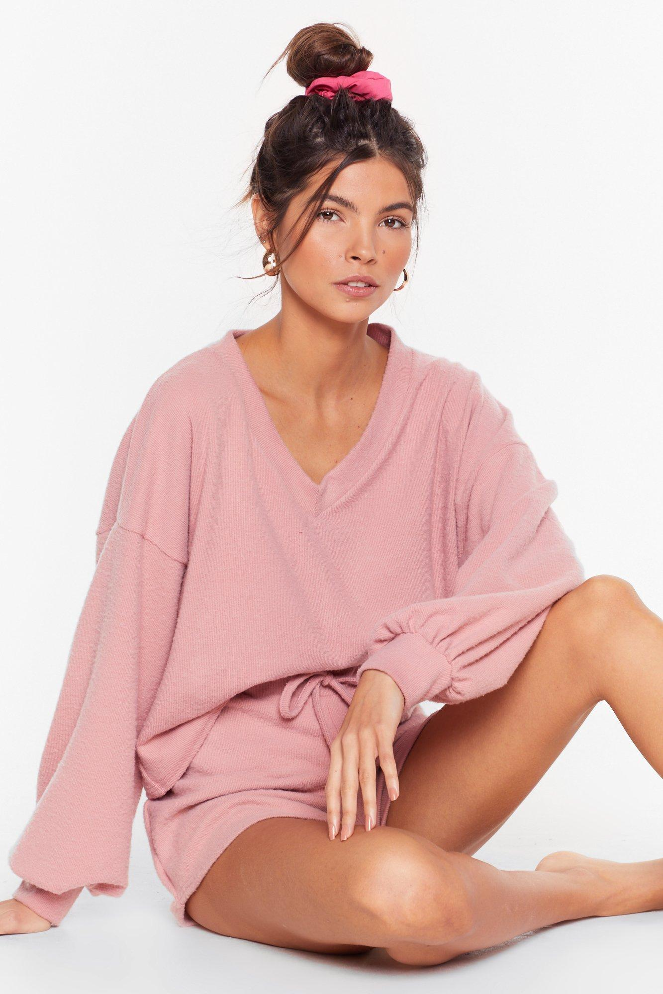Image of Recycled Shall V Stay in Bed Sweater and Shorts Set