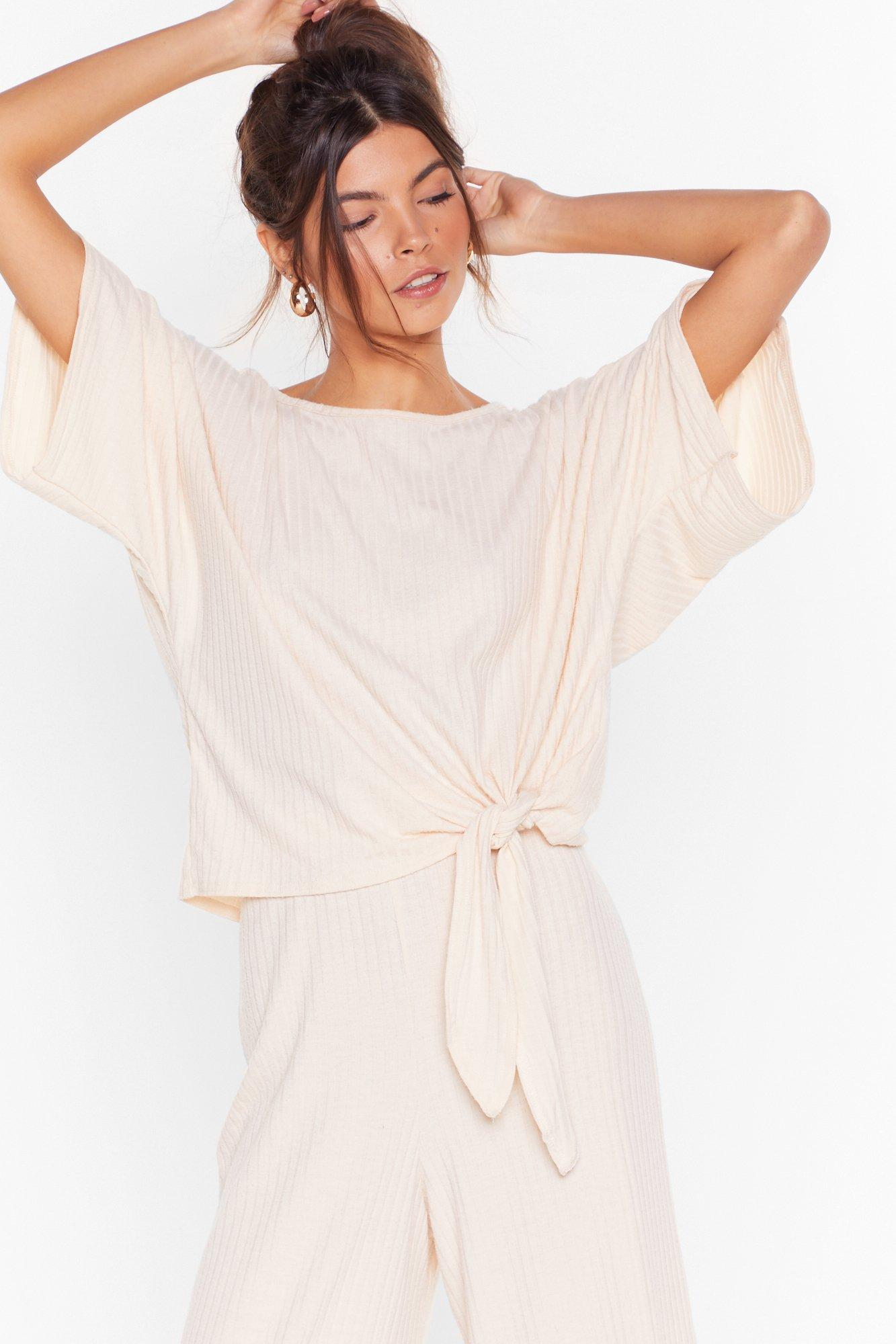 Image of Recycled Tie-ing to Chill Ribbed Culotte Lounge Set