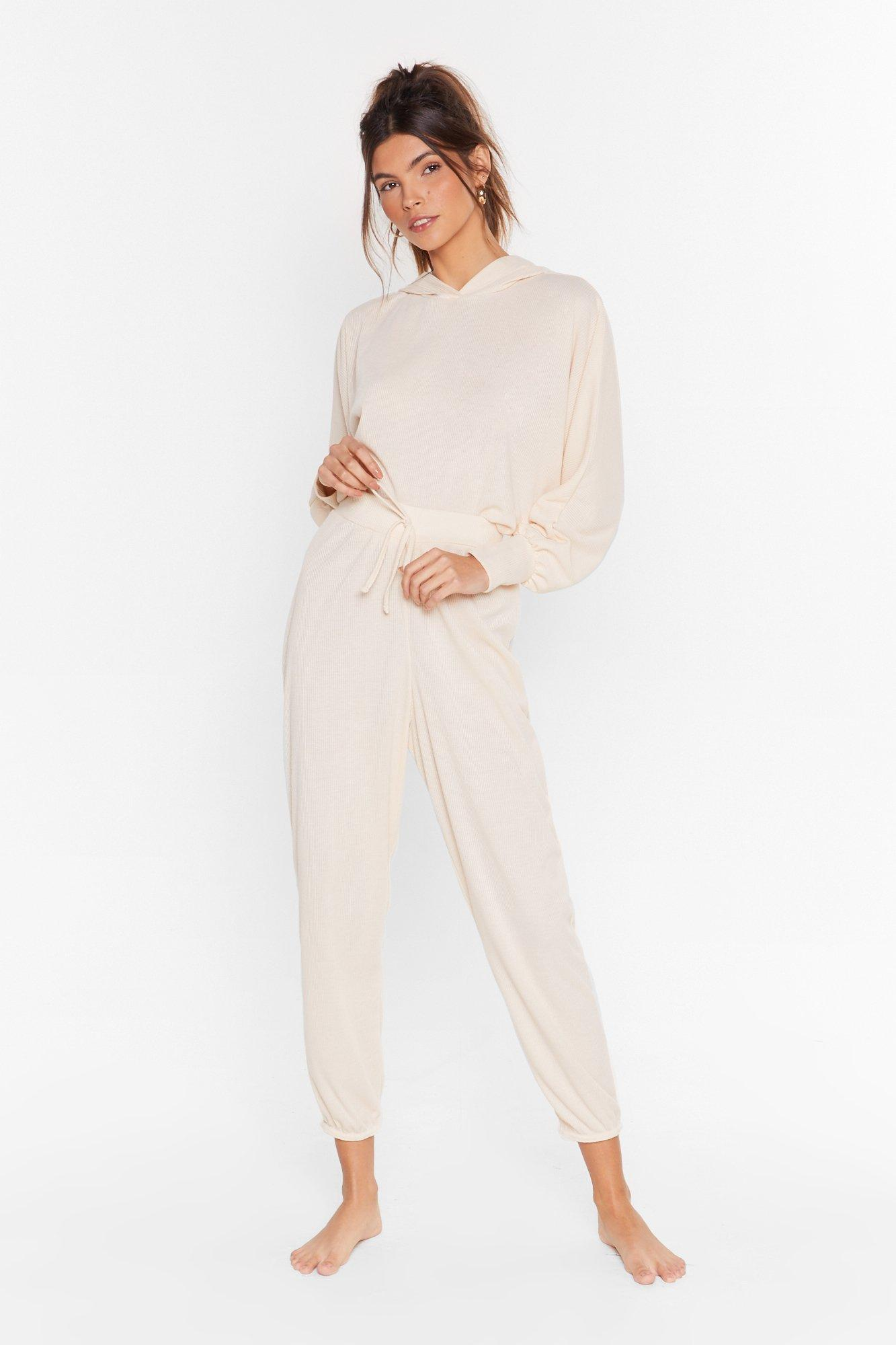 Image of Recycled Settle Back Ribbed Hoodie Lounge Set