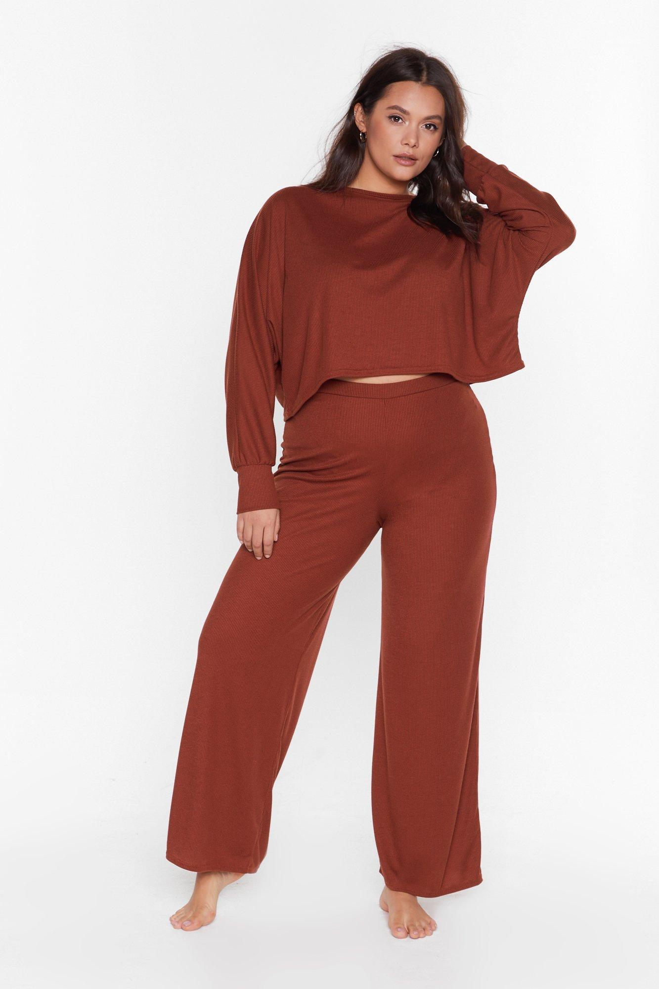 Image of Recyced Time to Unwind Plus Wide-Leg Lounge Set