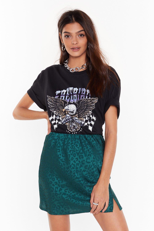 Image of animal satin mini skirt